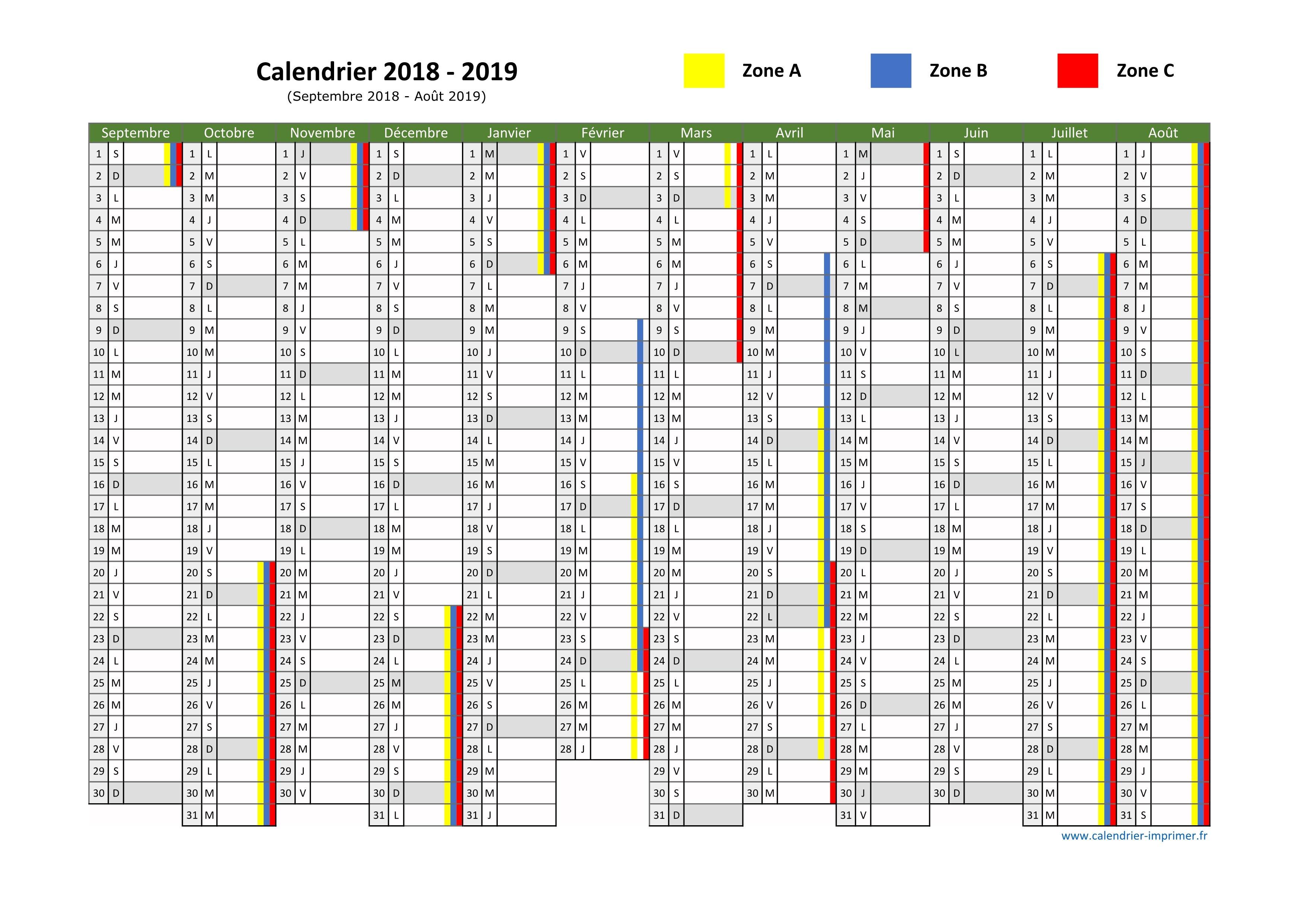 Calendrier Scolaire 2019 Zone A.Vacances Scolaires 2018 2019
