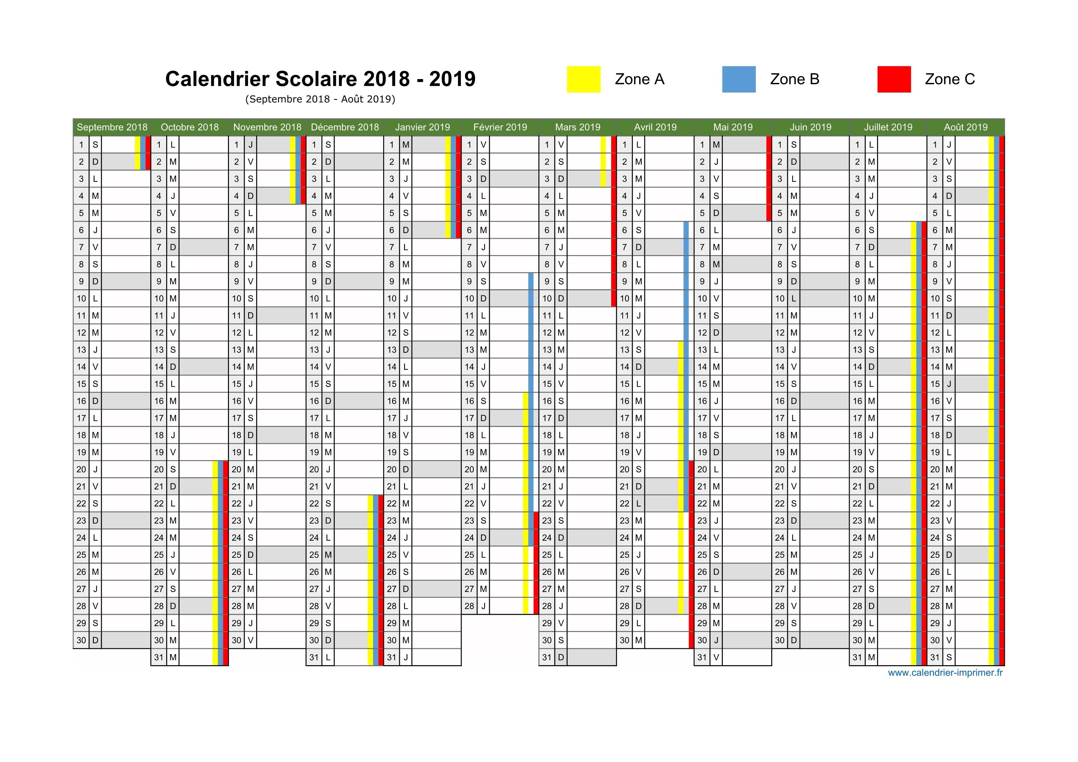 Calendrier Scolaire 2019 2020 Excel.Telecharger Calendrier Scolaire 2018 2019 Pdf Pdf