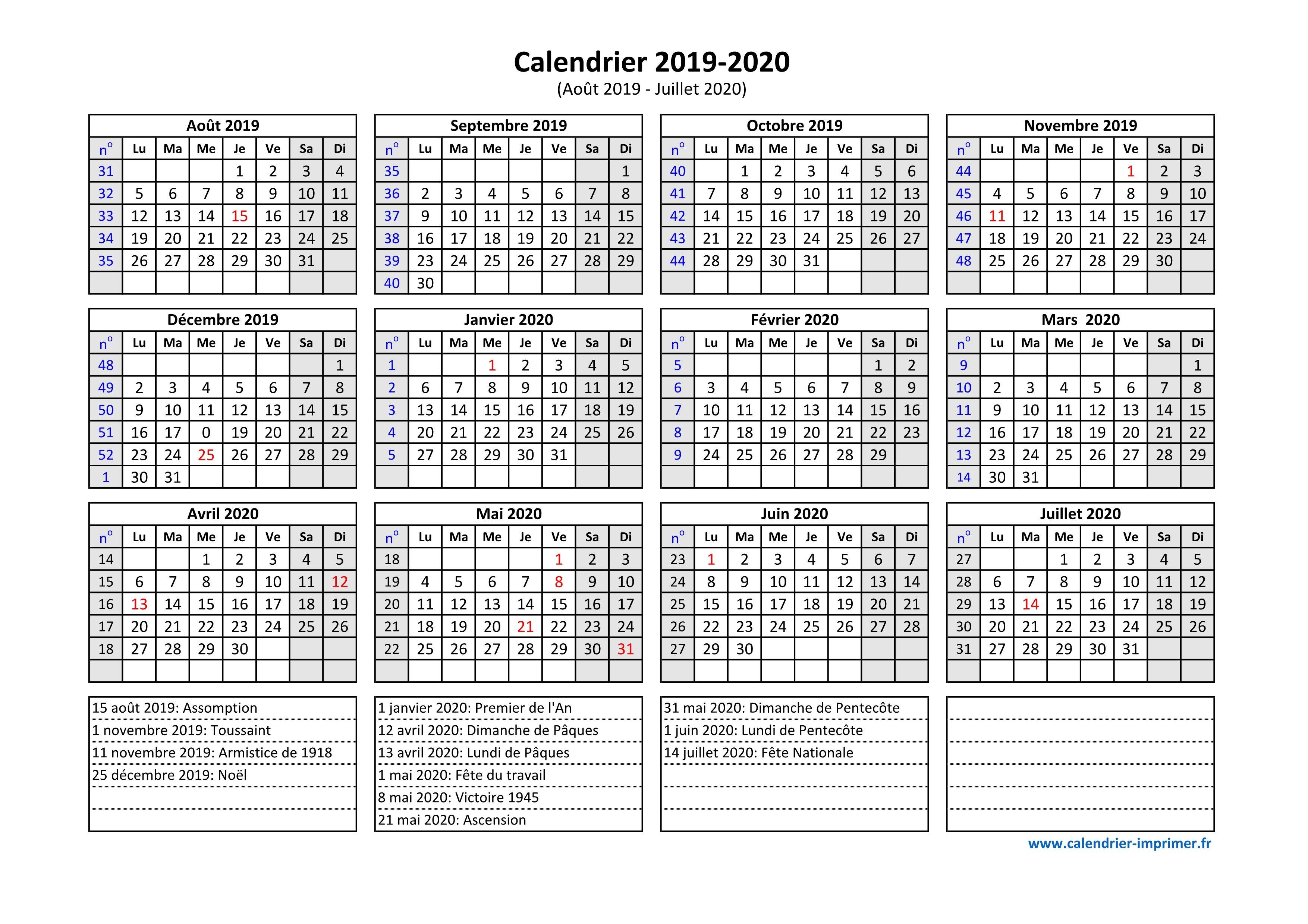 Calendrier Scolaire Mai 2020.Calendrier 2019 2020 A Imprimer
