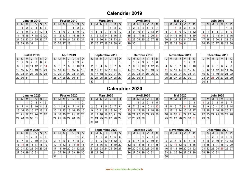 Calendrier 2019 2020 A Imprimer.Calendrier 2019 2020 A Imprimer
