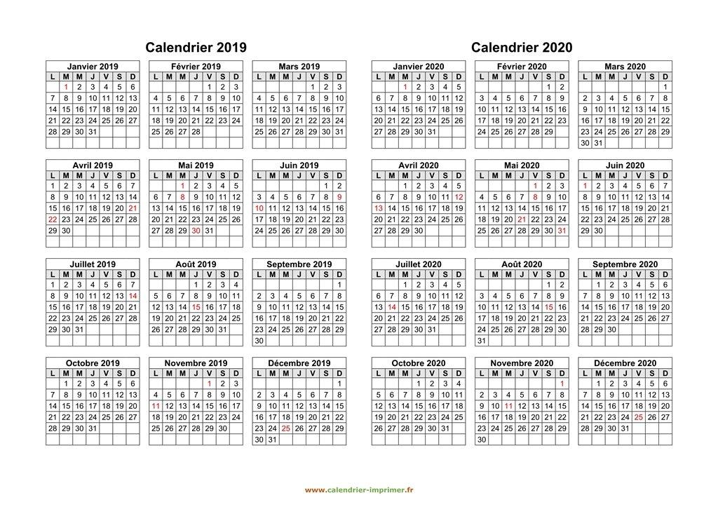 Calendrier Scolaire 2019 2020 Excel.Calendrier 2019 2020 A Imprimer