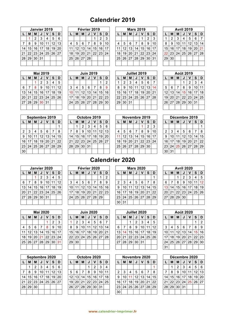 Calendrier 2019 2020 à Imprimer