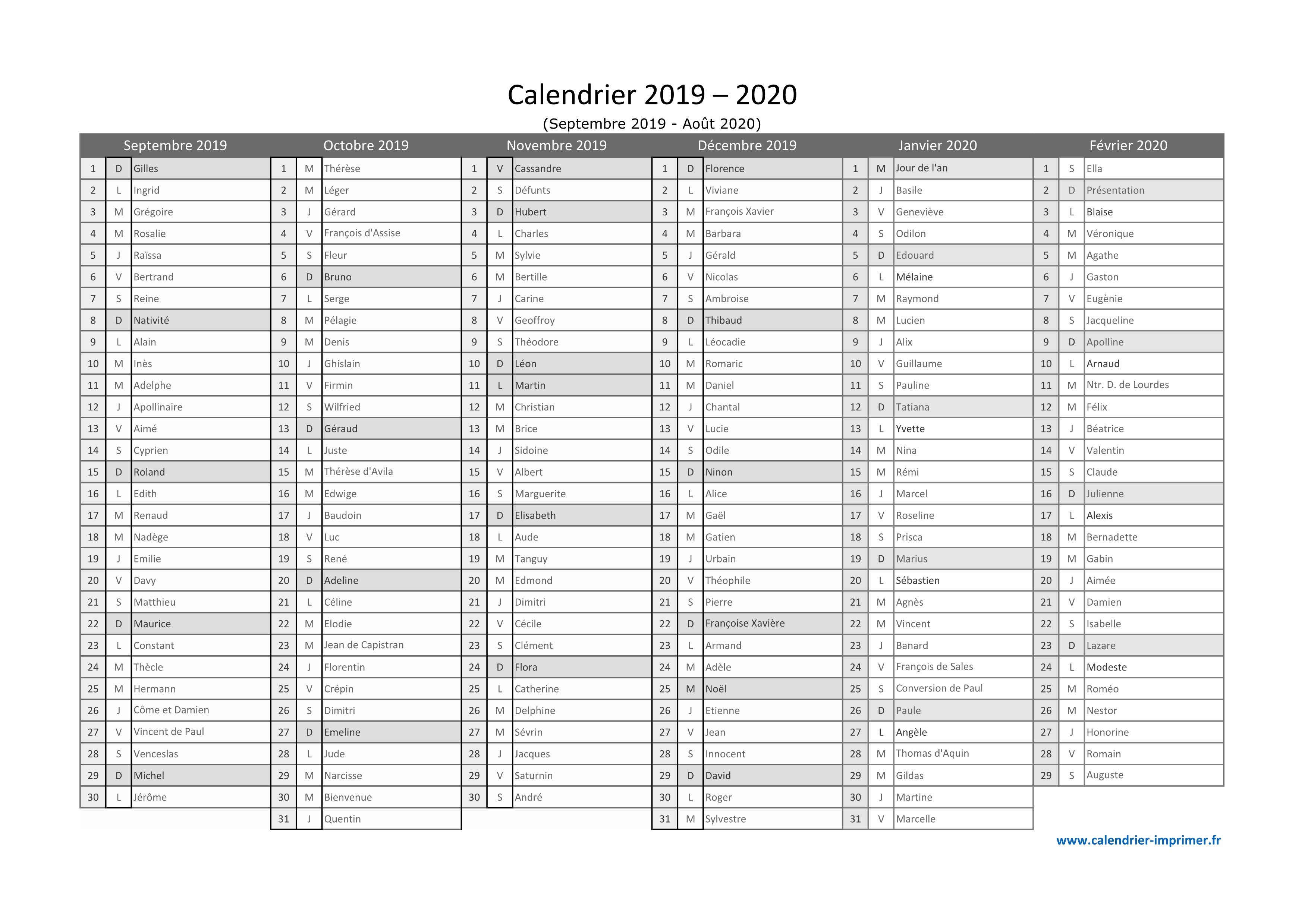 Calendrier 2020 Excell.Calendrier 2019 2020 A Imprimer