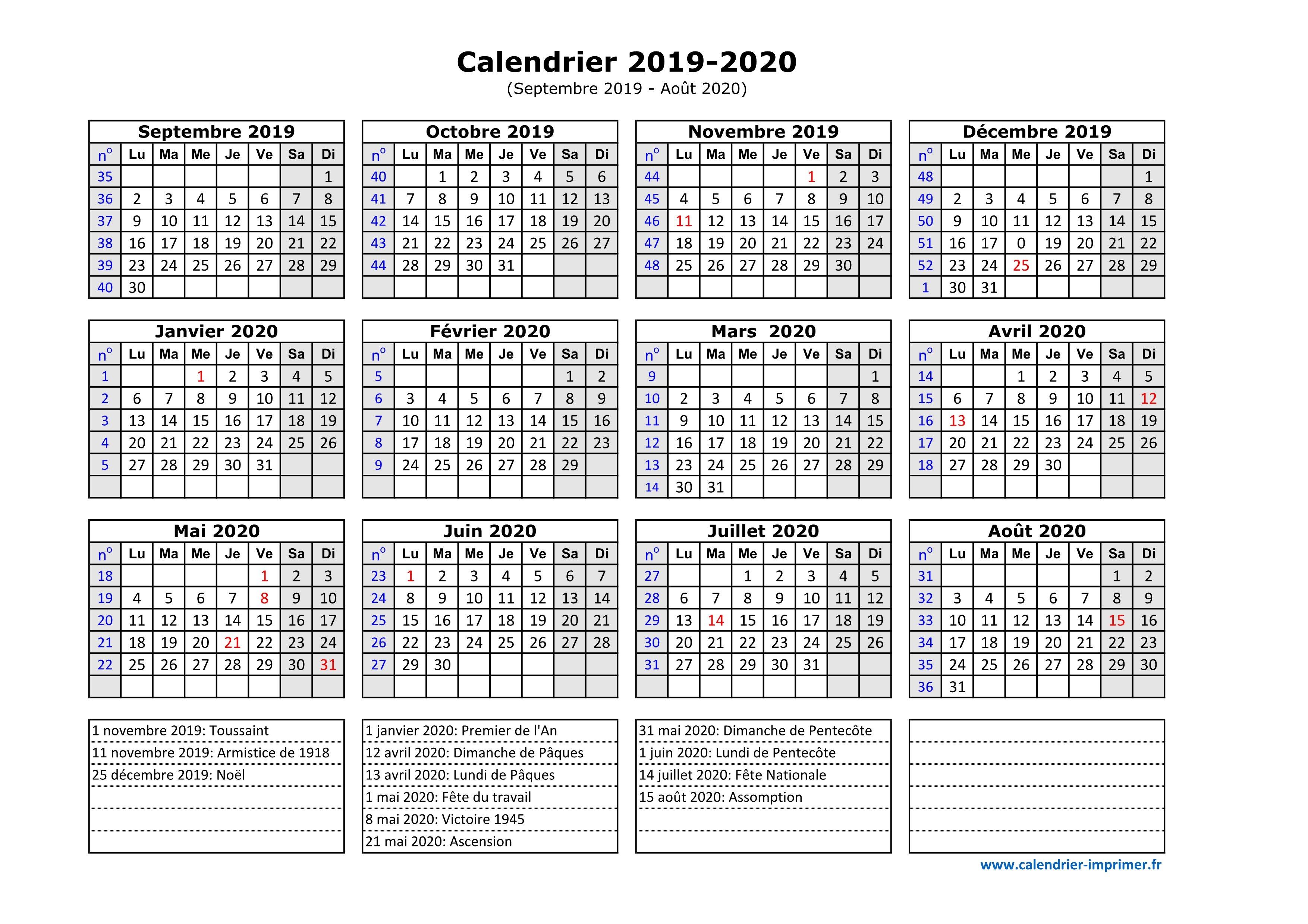 Calendrier Lunaire Juin 2020.Calendrier 2019 2020 A Imprimer