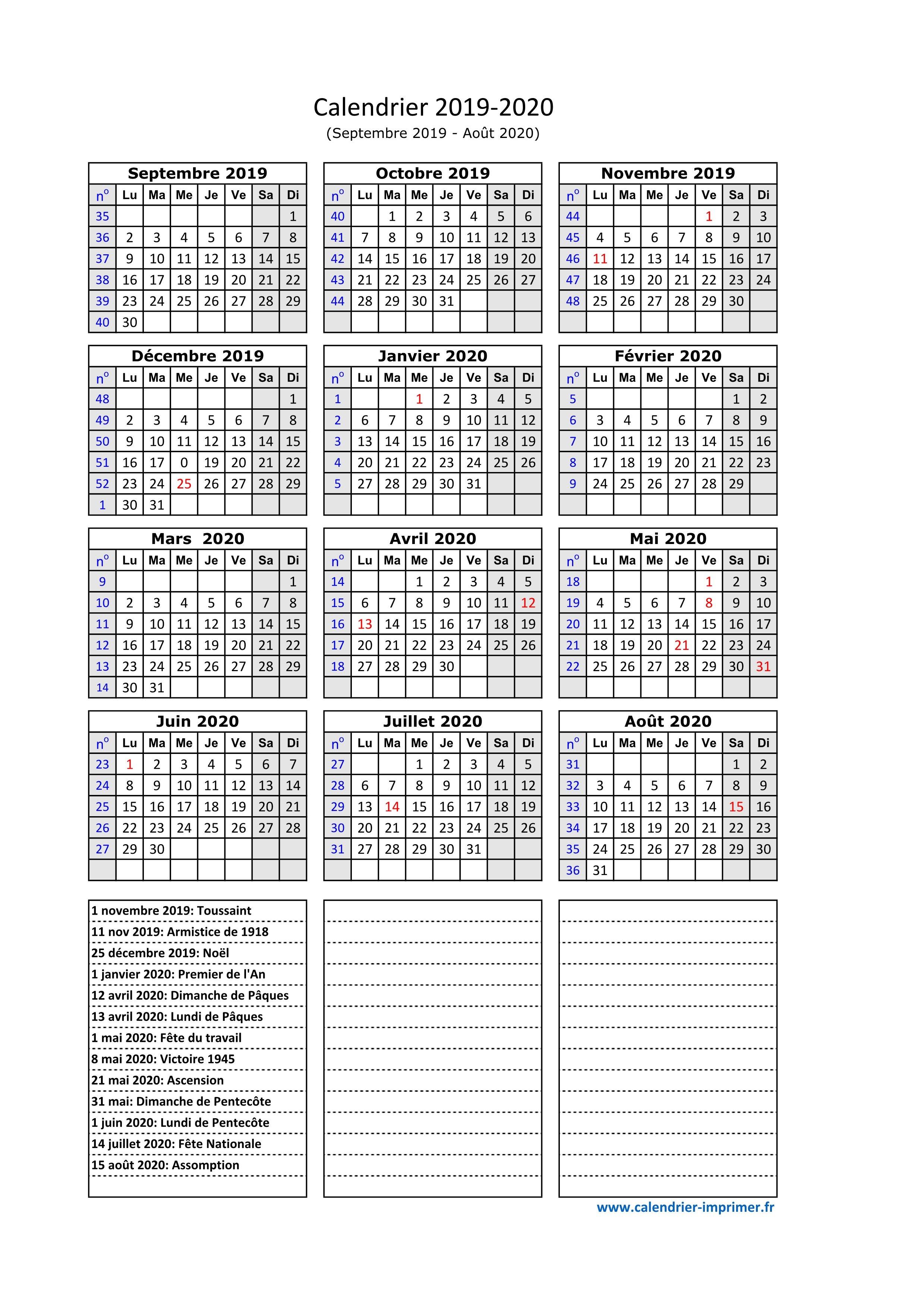 Calendrier Septembre 2020.Calendrier 2019 2020 A Imprimer