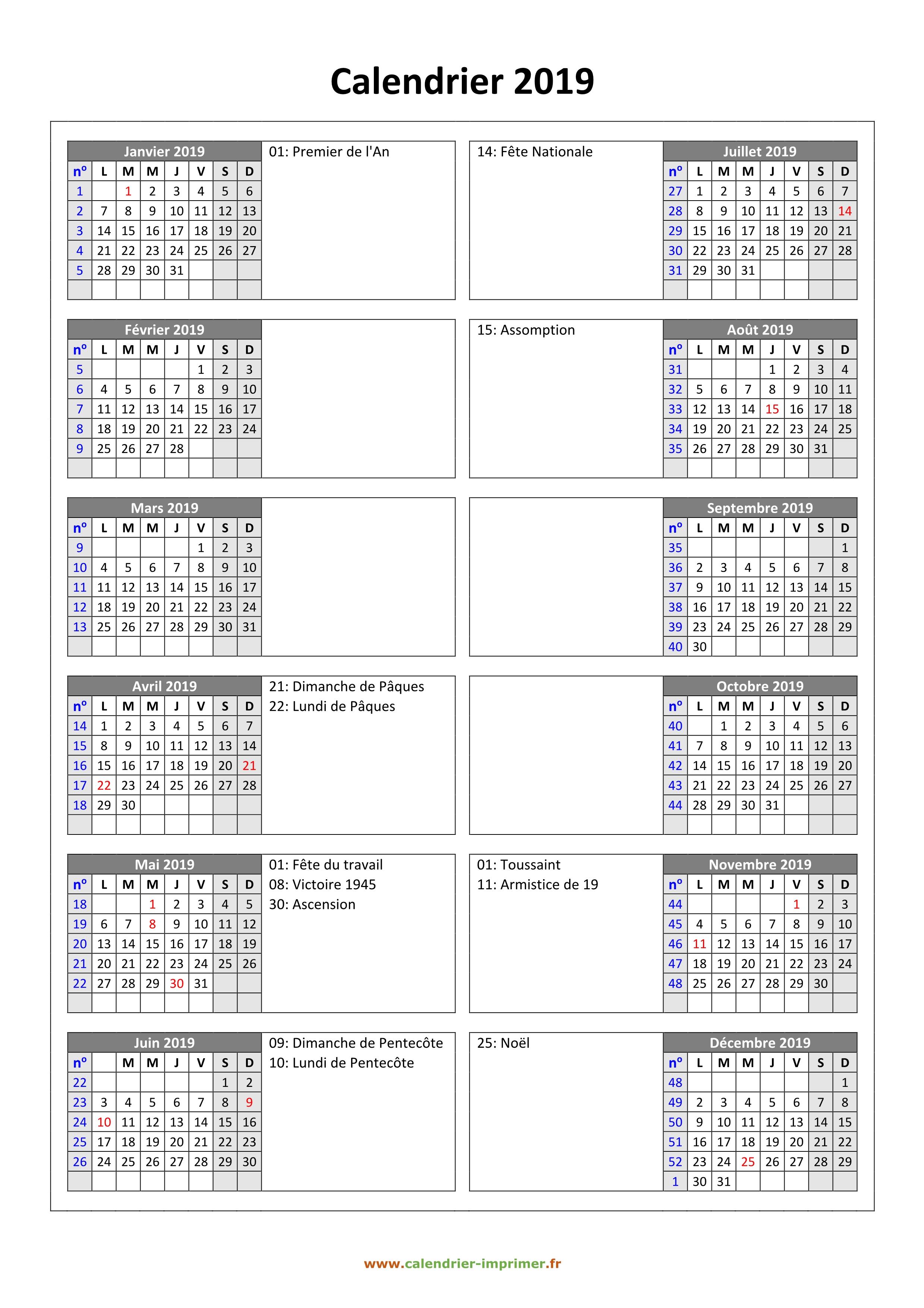 Calendrier Personnalise A Imprimer.Calendrier 2019 A Imprimer Gratuit