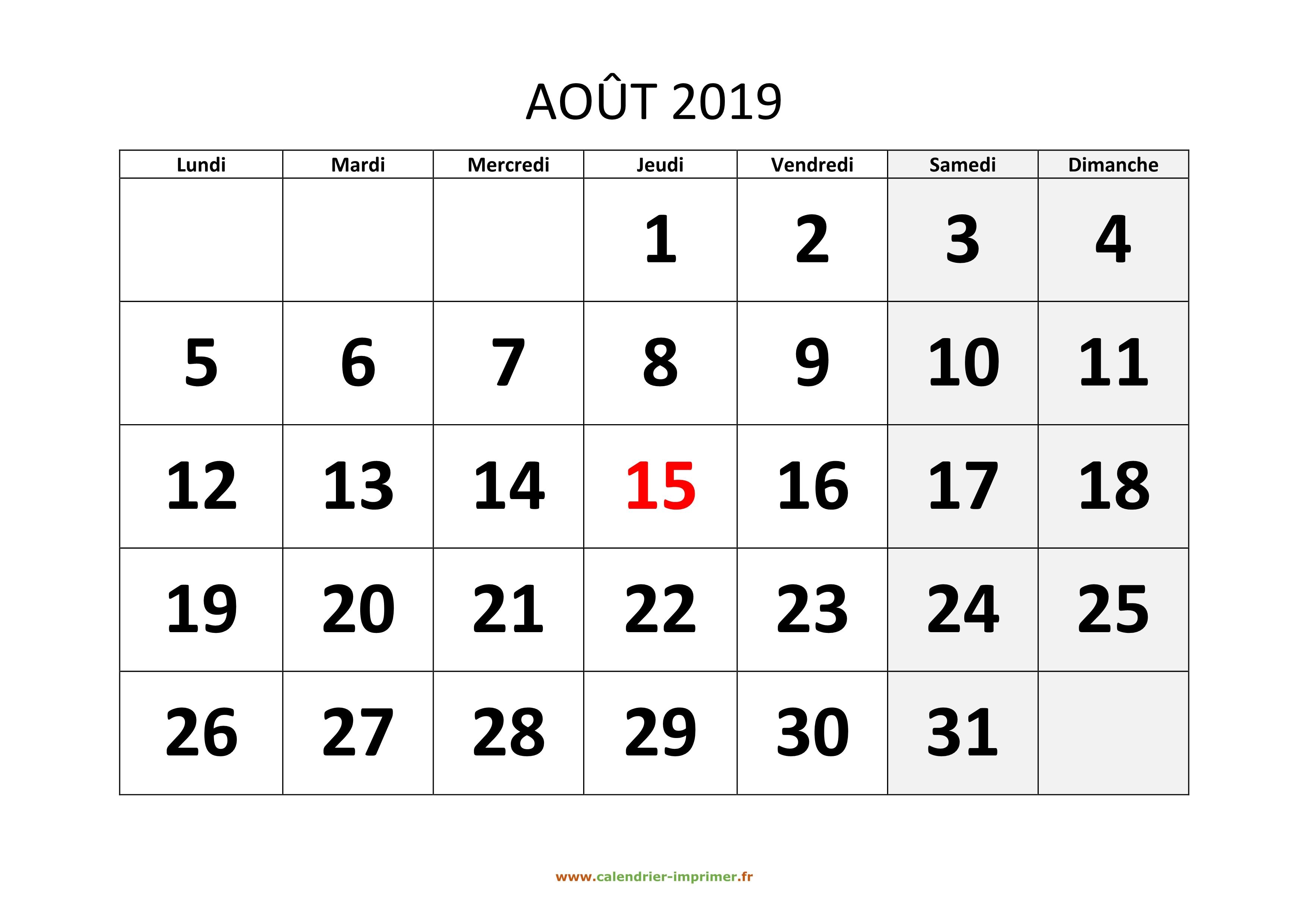 Calendrier Septembre 2020 Aout 2019.Calendrier Aout 2019 A Imprimer