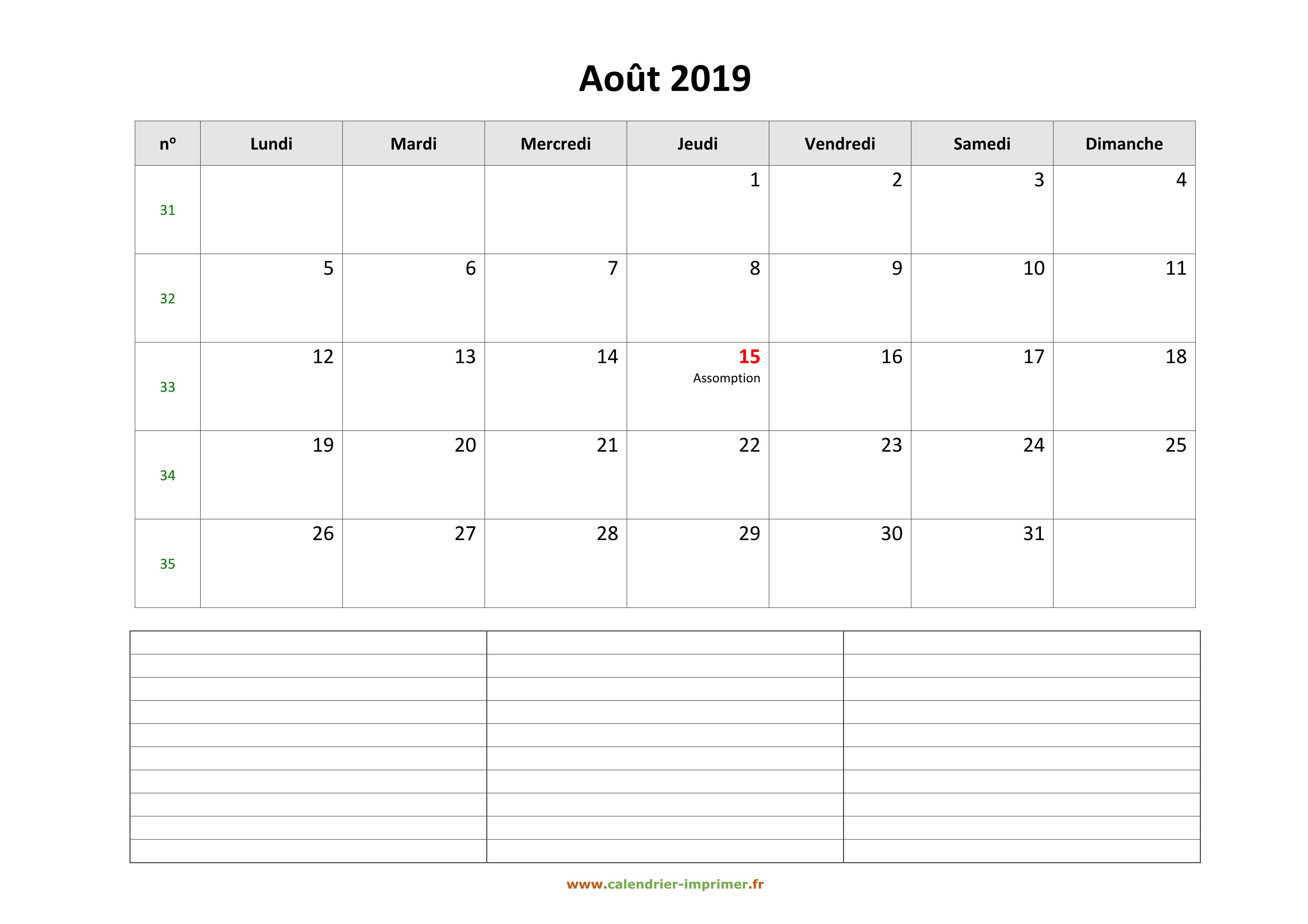 Calendrier Mois Aout 2019.Calendrier Aout 2019 A Imprimer