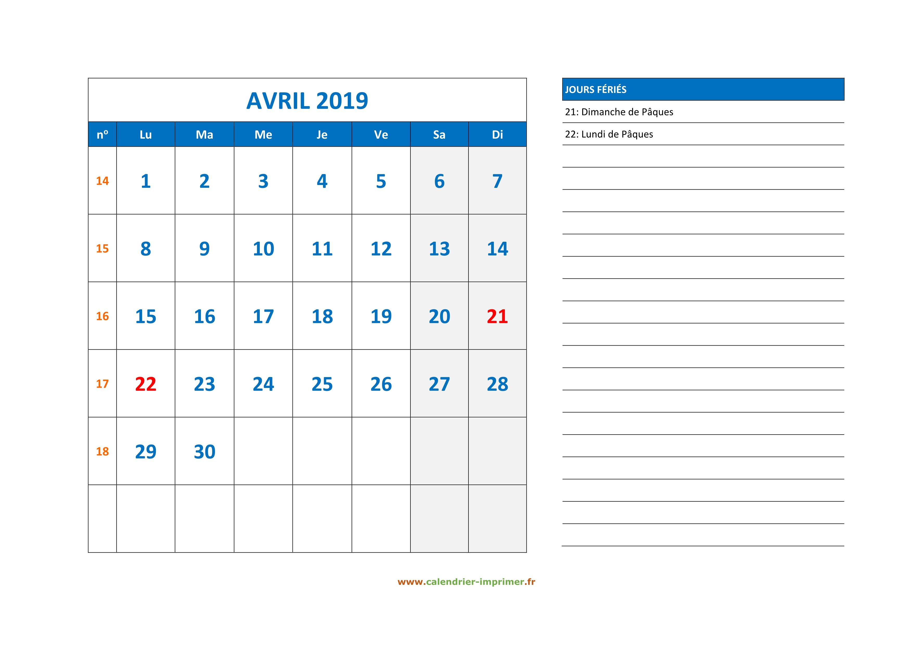 Calendrier Paques 2019.Calendrier Avril 2019 A Imprimer