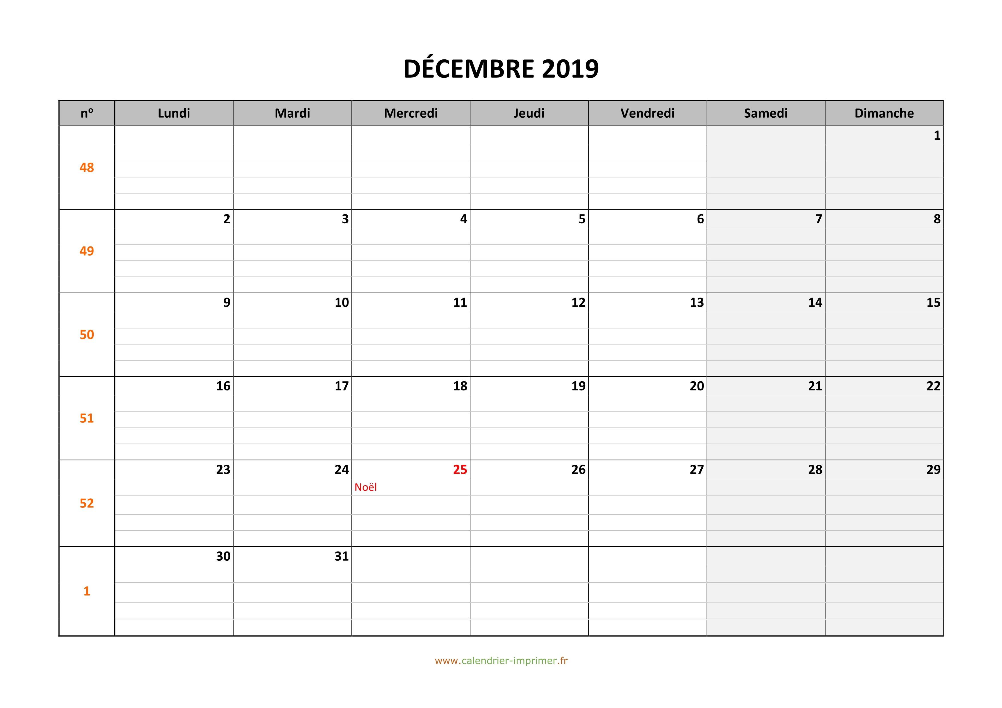 Calendrier Mensuel Decembre 2019.Calendrier Decembre 2019 A Imprimer