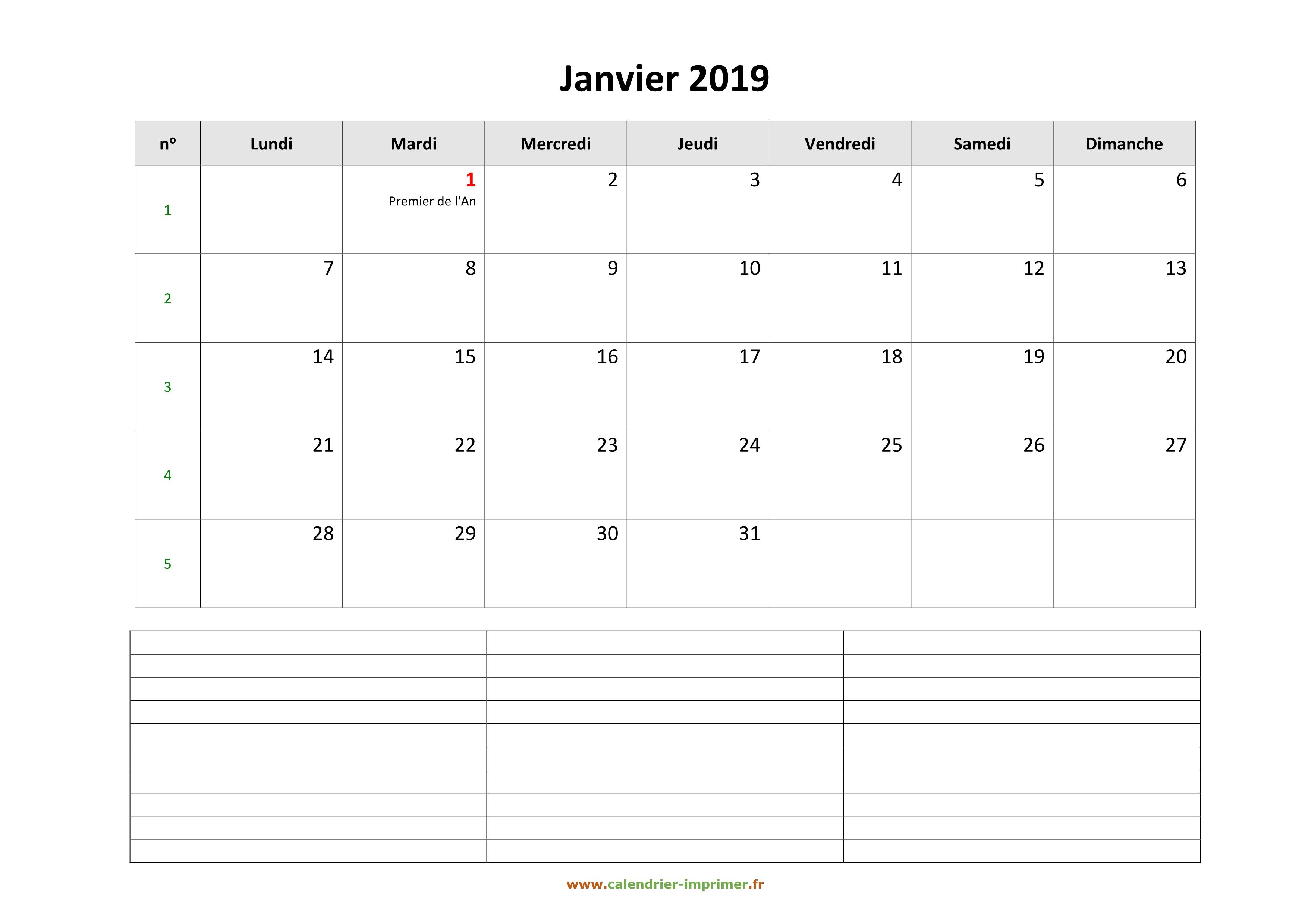 Calendrier A Imprimer Janvier 2019.Calendrier Janvier 2019 A Imprimer