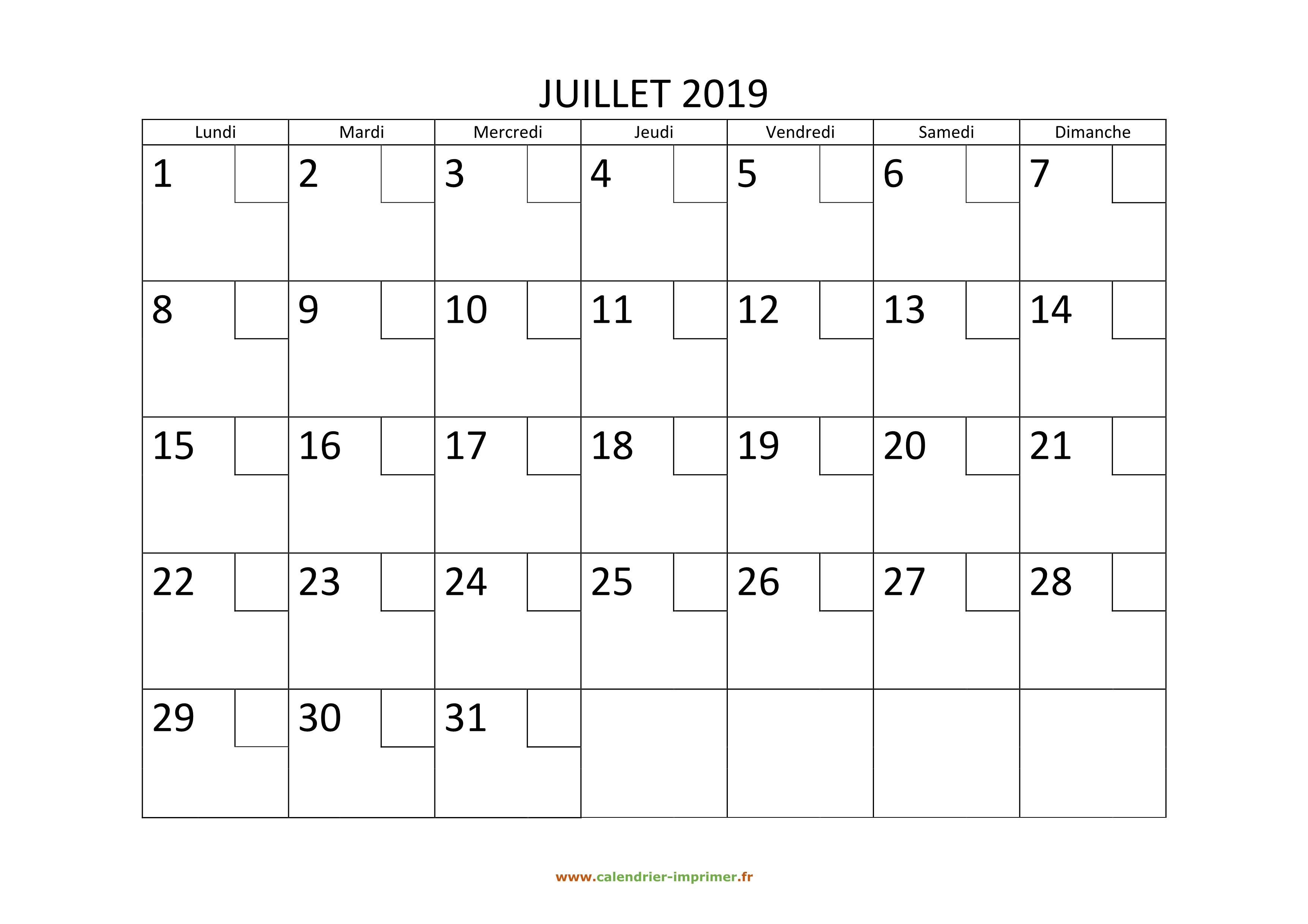 Calendrier A Imprimer Juillet 2019.Calendrier Juillet 2019 A Imprimer
