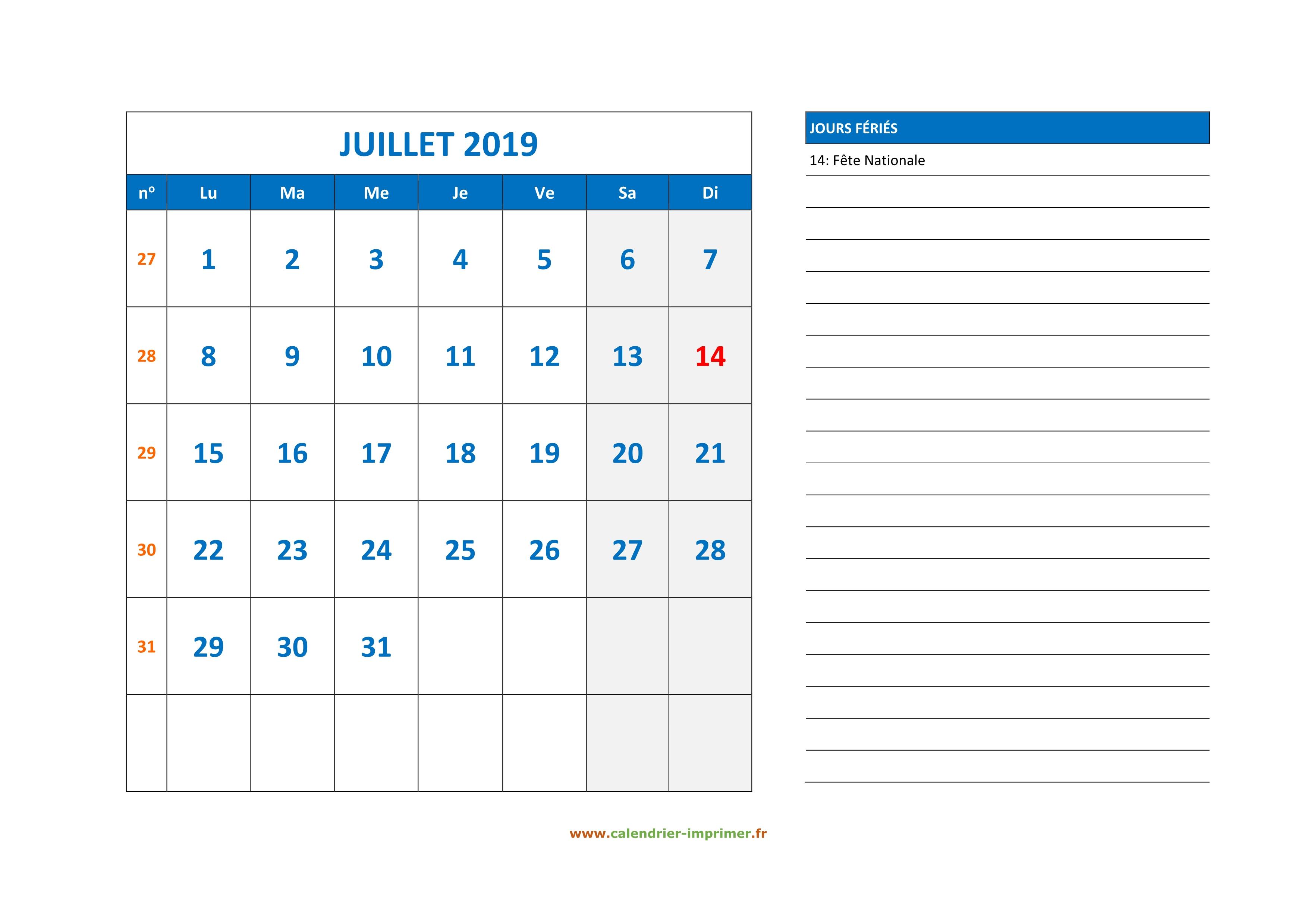 Calendrier Du Mois De Juillet 2019.Calendrier Juillet 2019 A Imprimer
