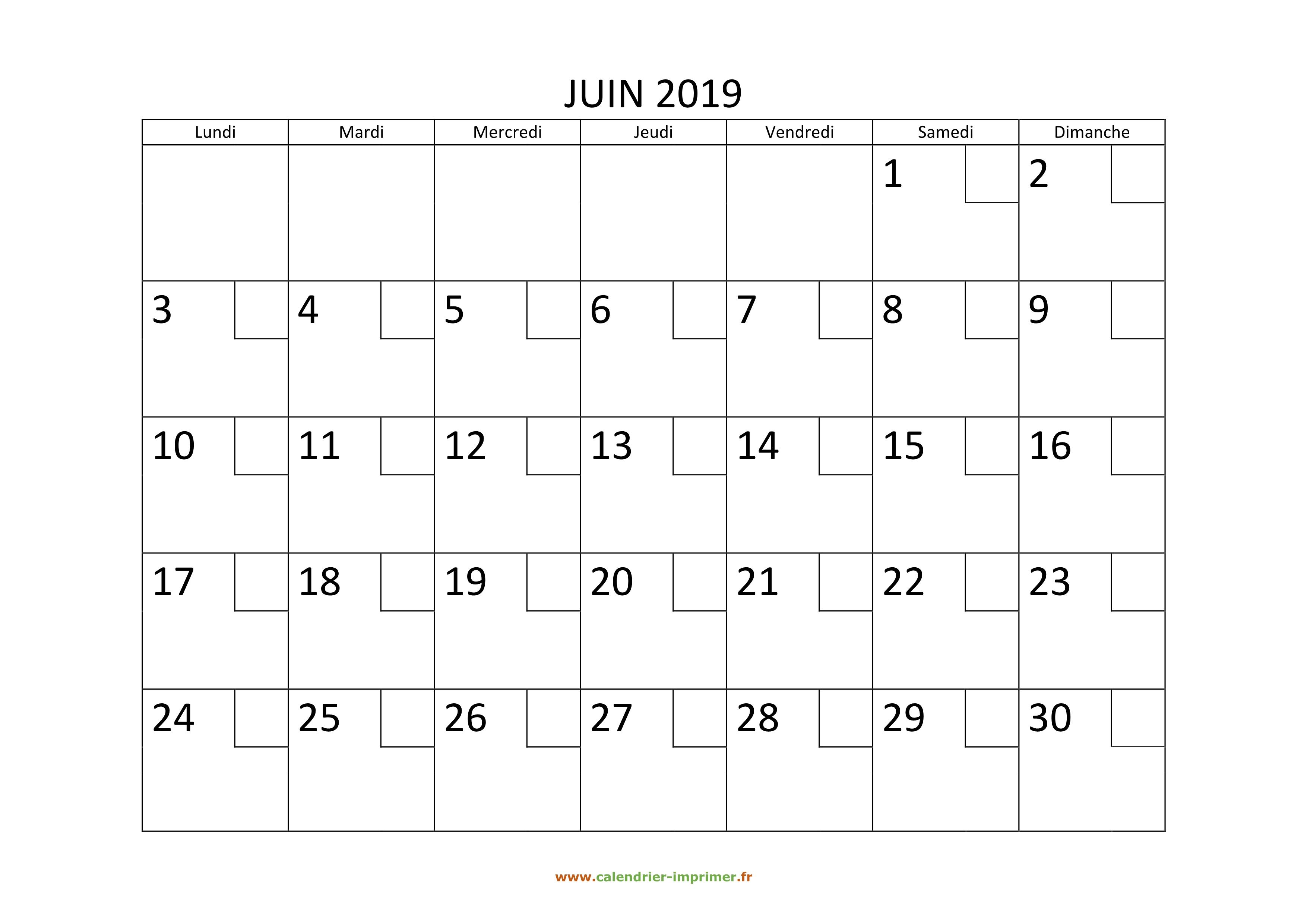 Calendrier Mensuel Juin 2019.Calendrier Juin 2019 A Imprimer