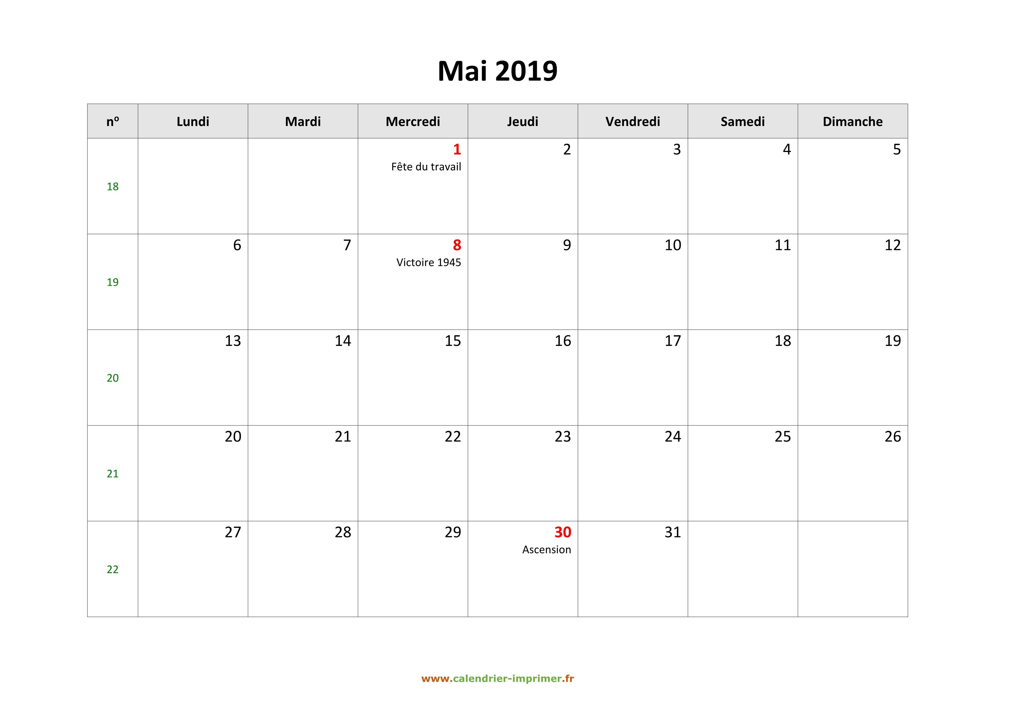 Calendrier Mai2019.Calendrier Mai 2019 A Imprimer