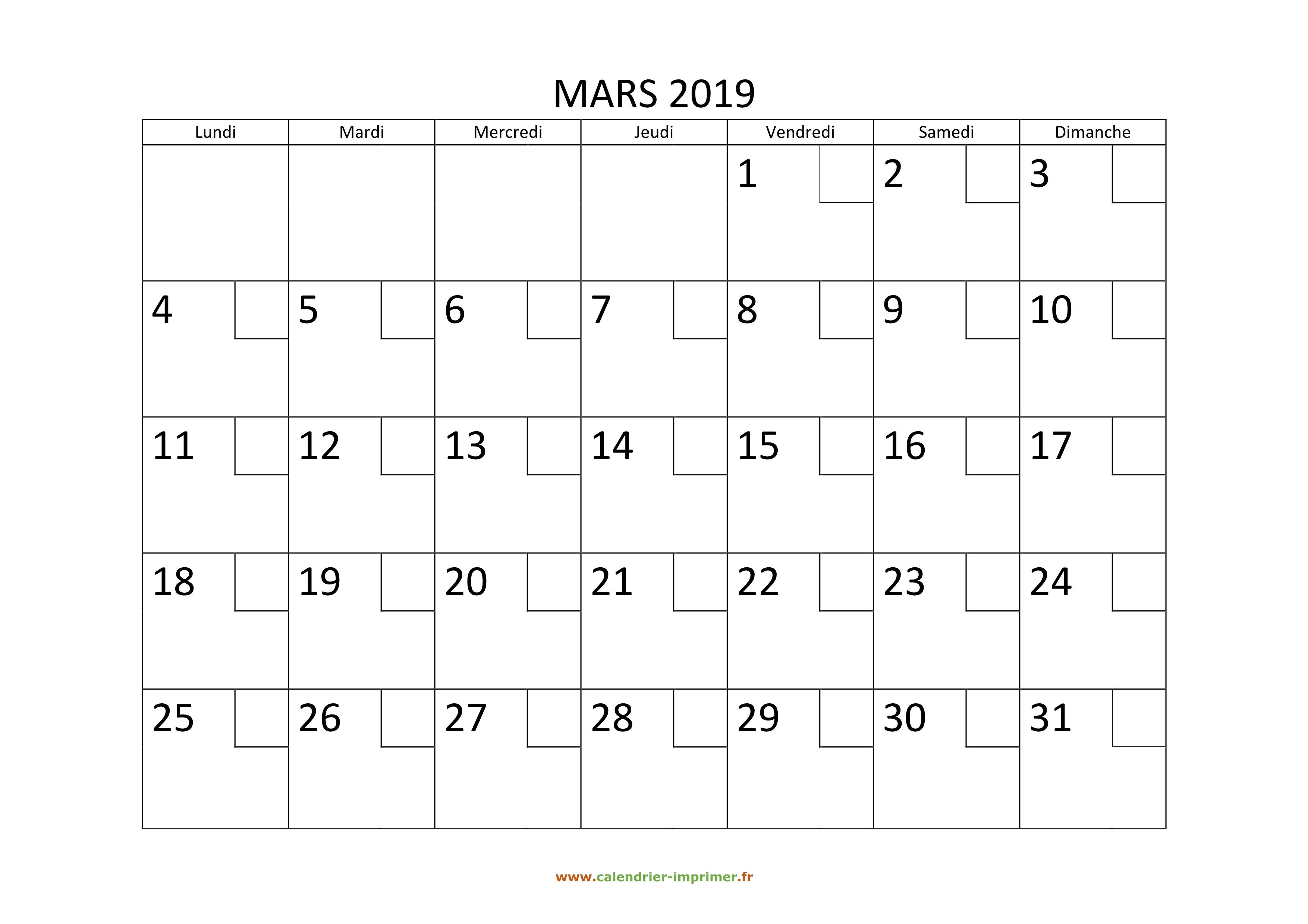 Calendrier De Mars 2019.Calendrier Mars 2019 A Imprimer