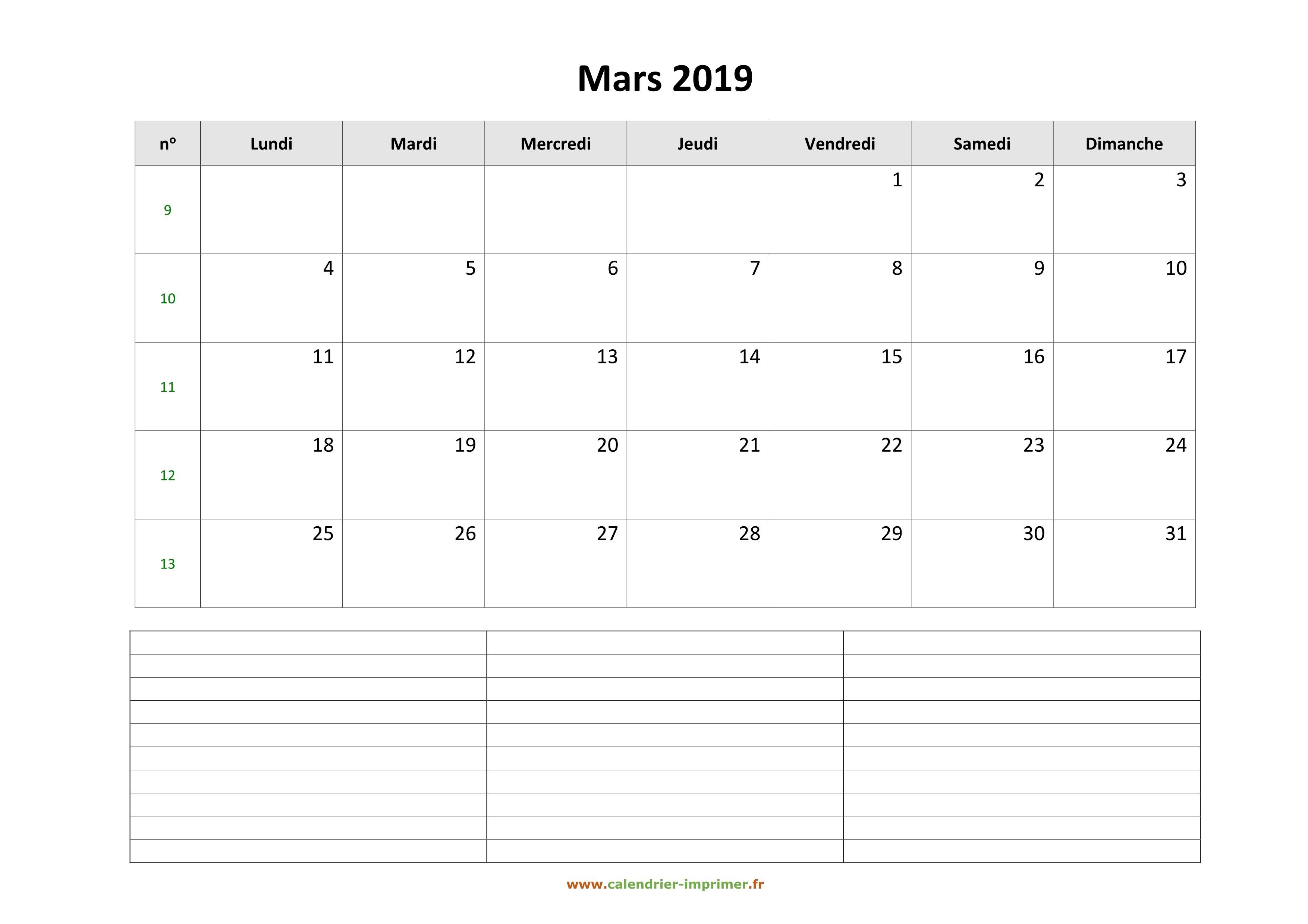 Calendrier Mars 2019 A Imprimer