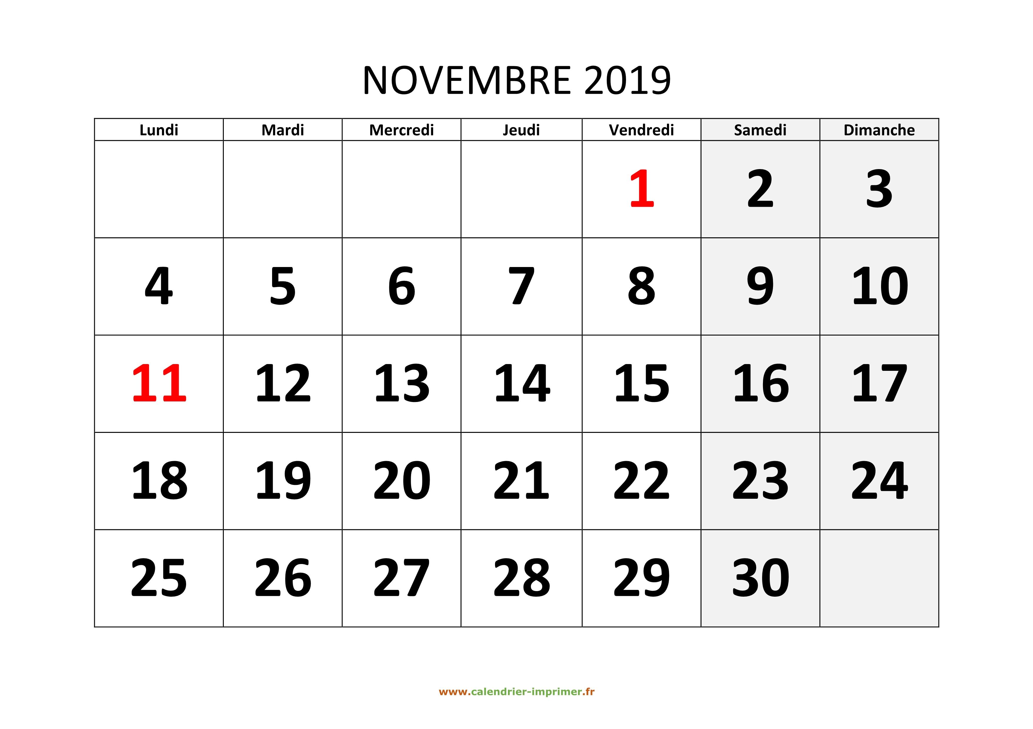 Calendrier Mois De Novembre 2019.Calendrier Novembre 2019 A Imprimer