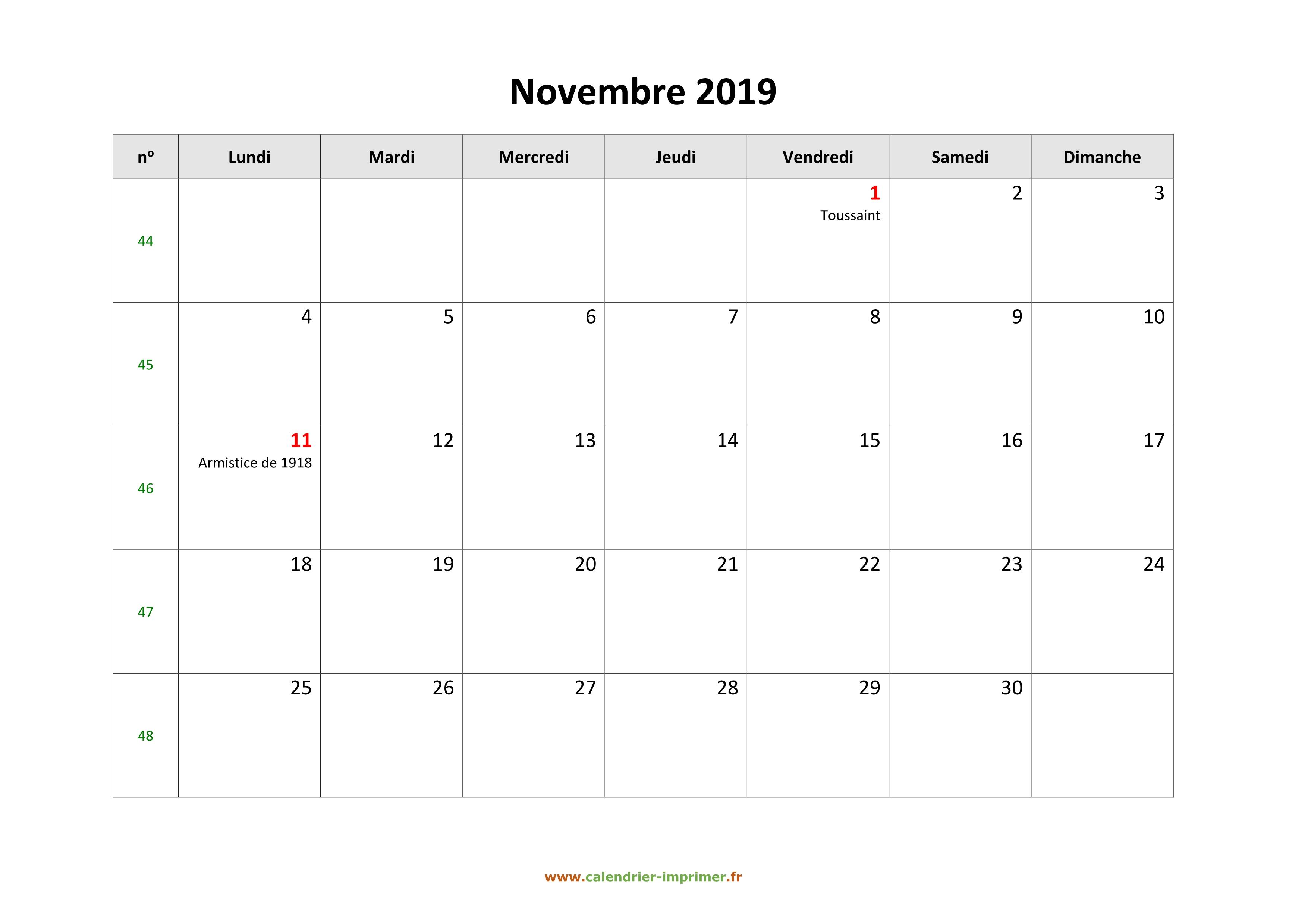 Calendrier A Imprimer Novembre 2019.Calendrier Novembre 2019 A Imprimer