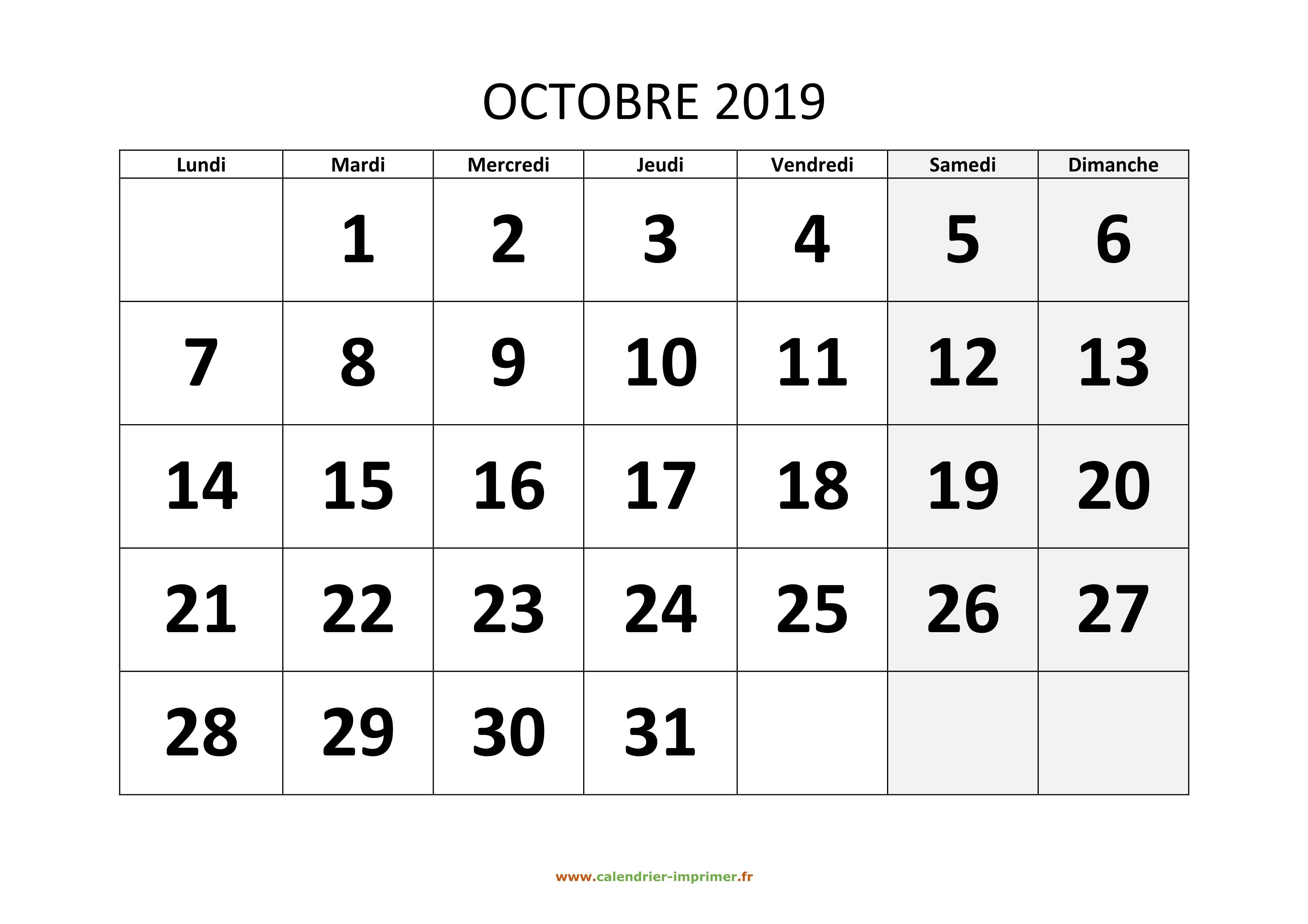 Calendrier 2019 Mois Par Mois A Imprimer.Calendrier Octobre 2019 A Imprimer