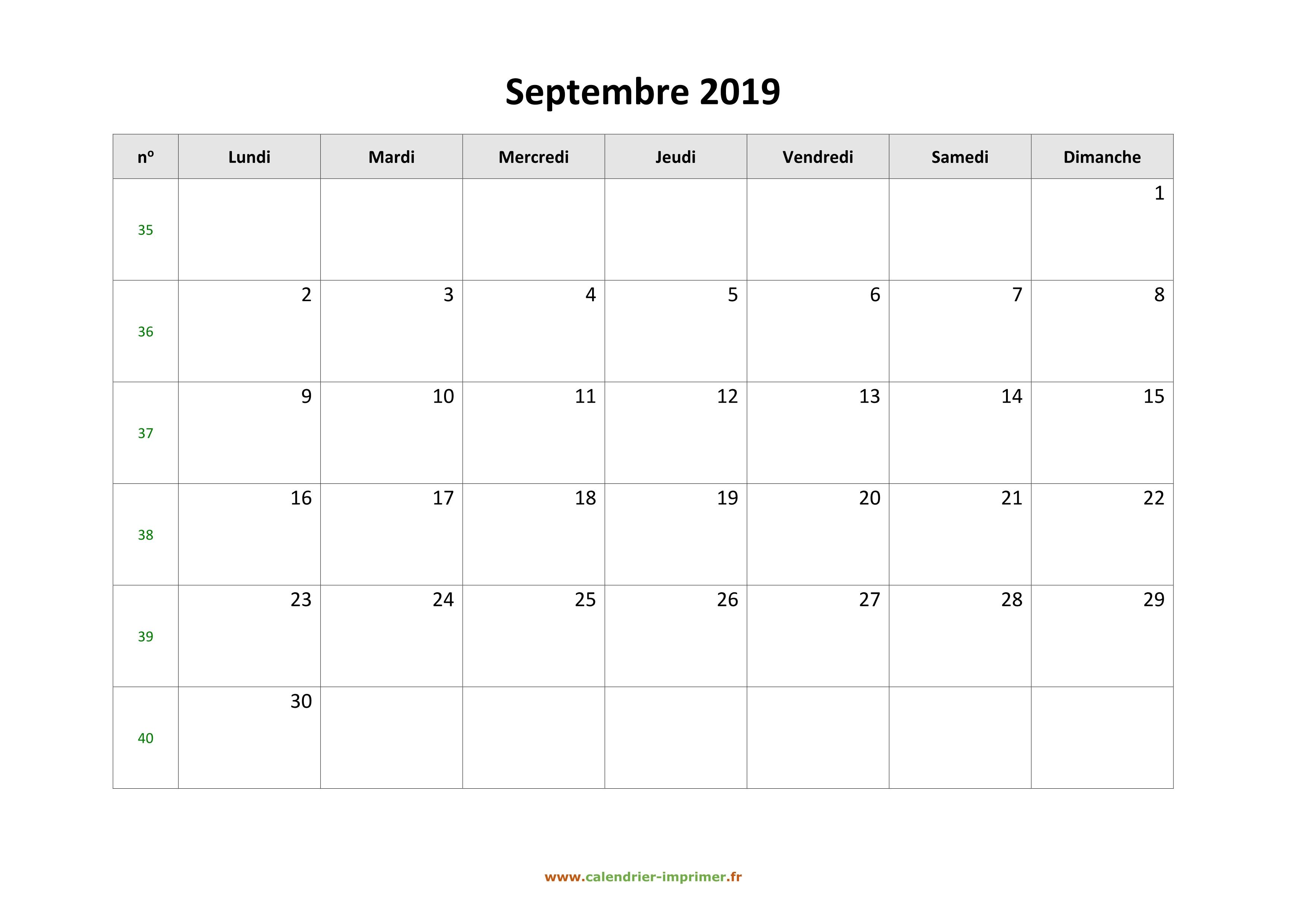 Calendrier Mois De Septembre.Calendrier Septembre 2019 A Imprimer