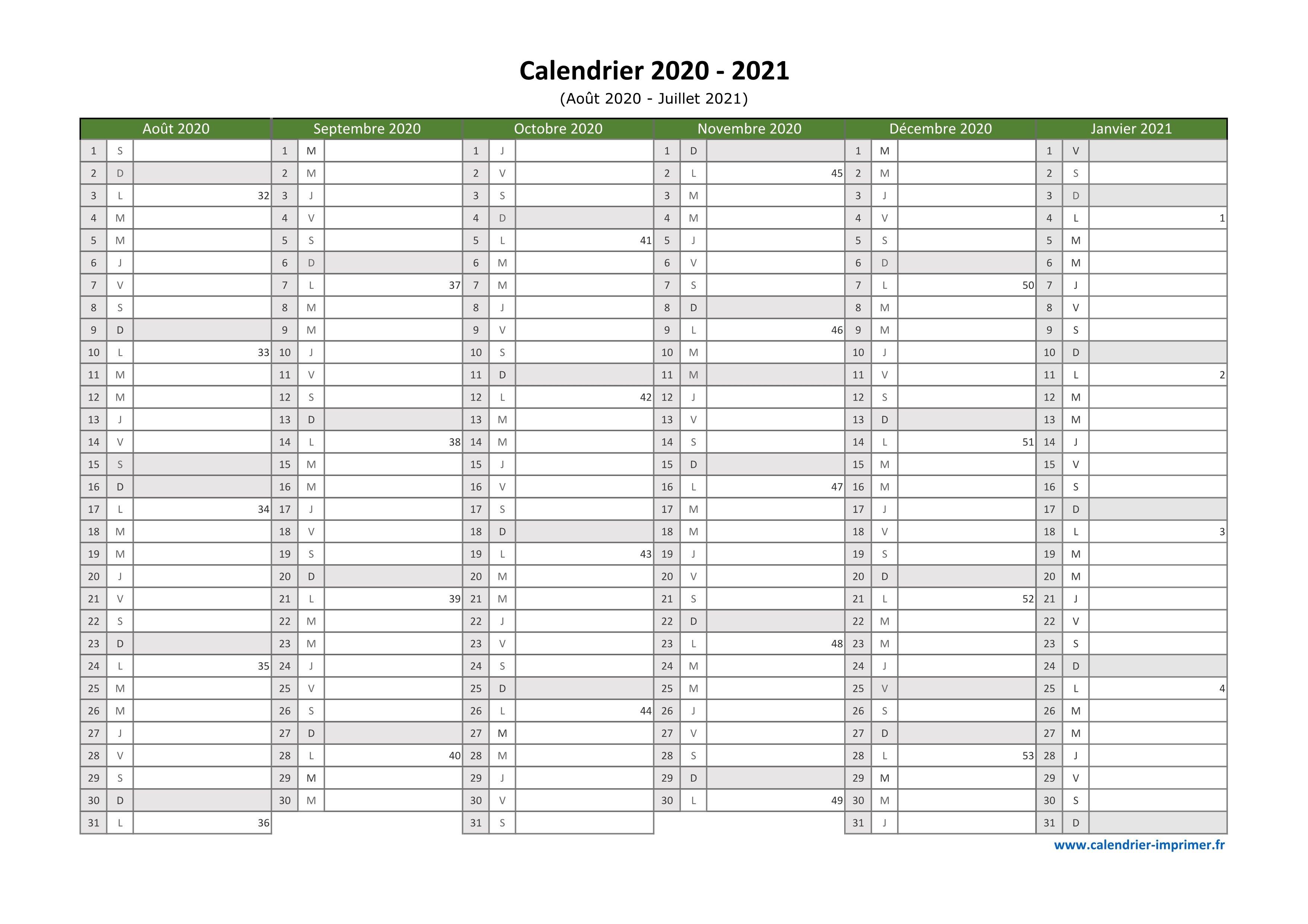 Calendrier Juillet Aout 2021 Excel Calendrier 2020 2021 à imprimer