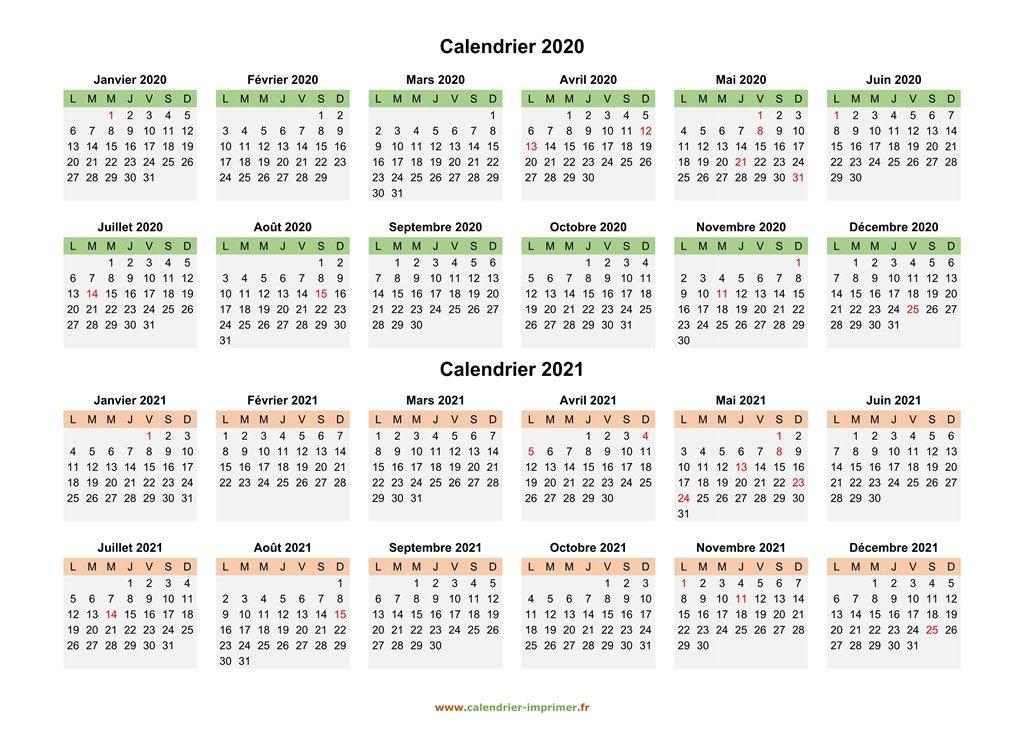 Calendrier 2020 2021 à imprimer