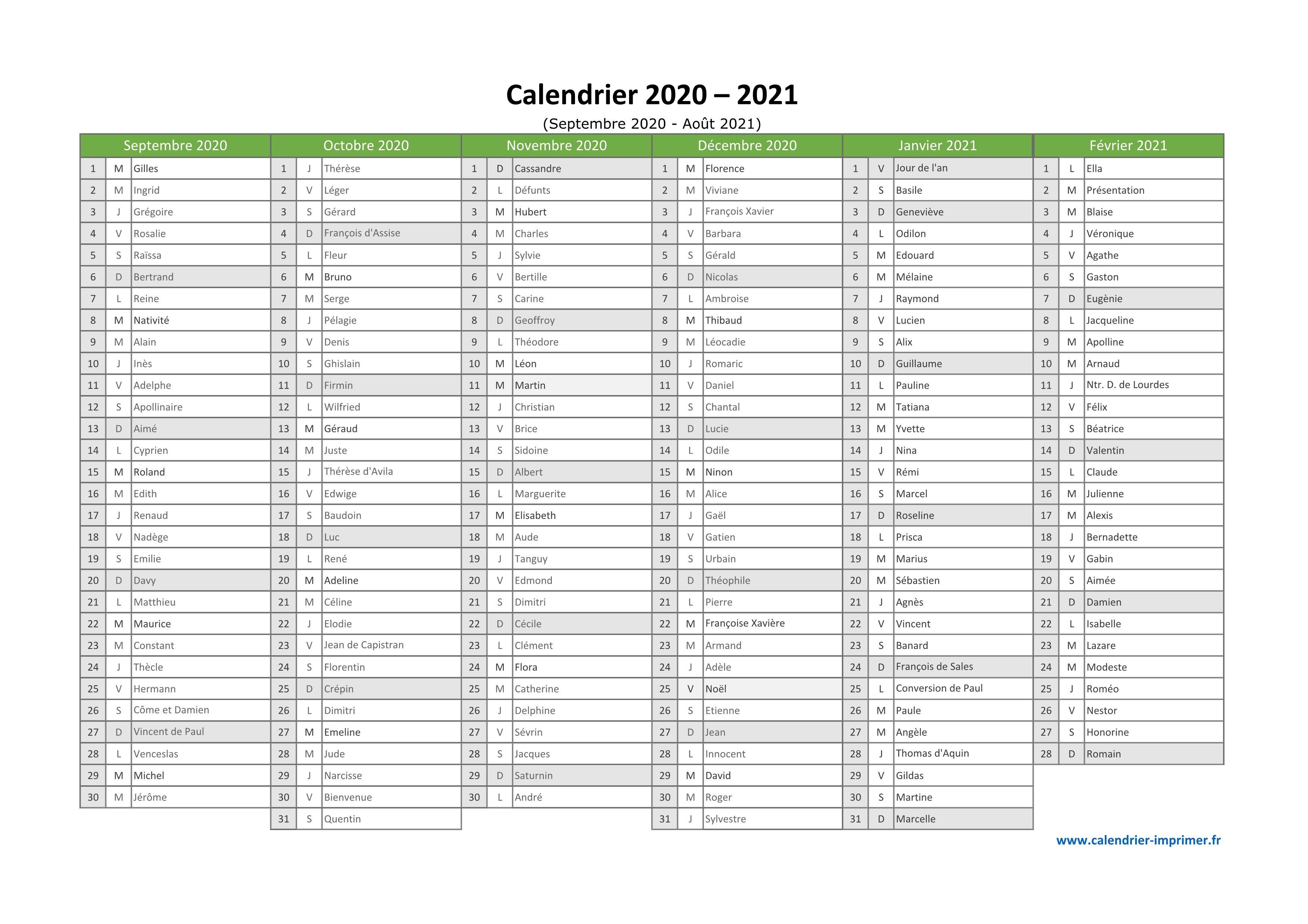 Calendrier Septembre 2021 à Aout 2021 Calendrier 2020 2021 à imprimer