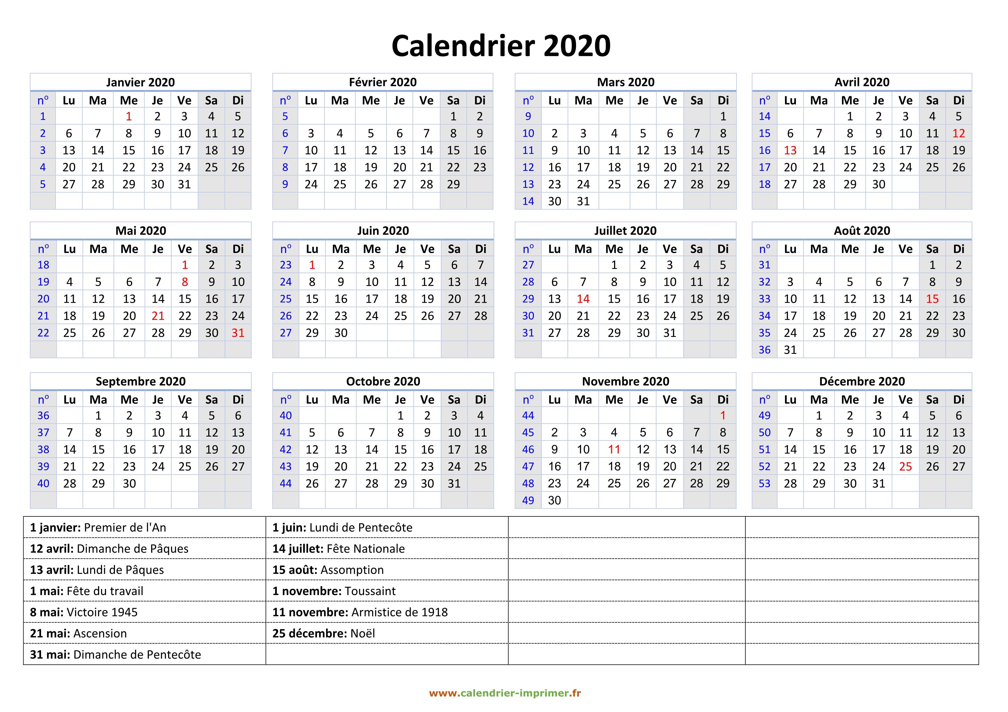 Calendrier 2020 Semaine Numerotees.Calendrier 2020 A Imprimer Gratuit