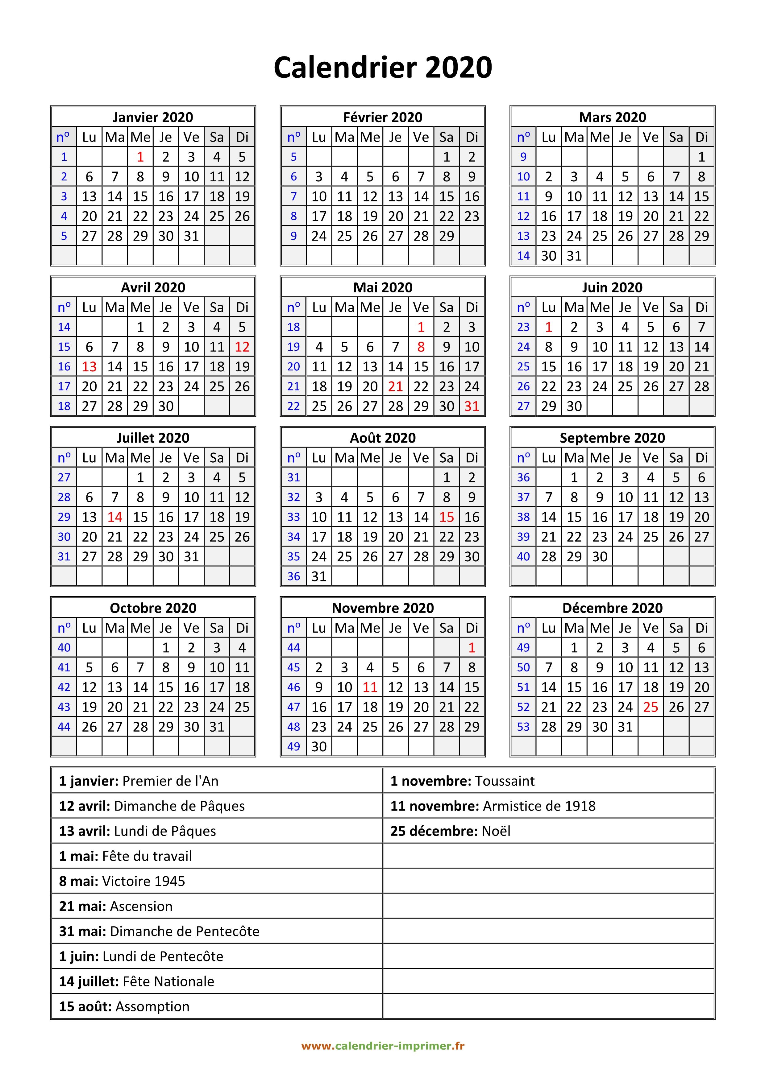 Calendrier 2020 Et 2020 Avec Vacances Scolaires.Calendrier 2020 A Imprimer Gratuit