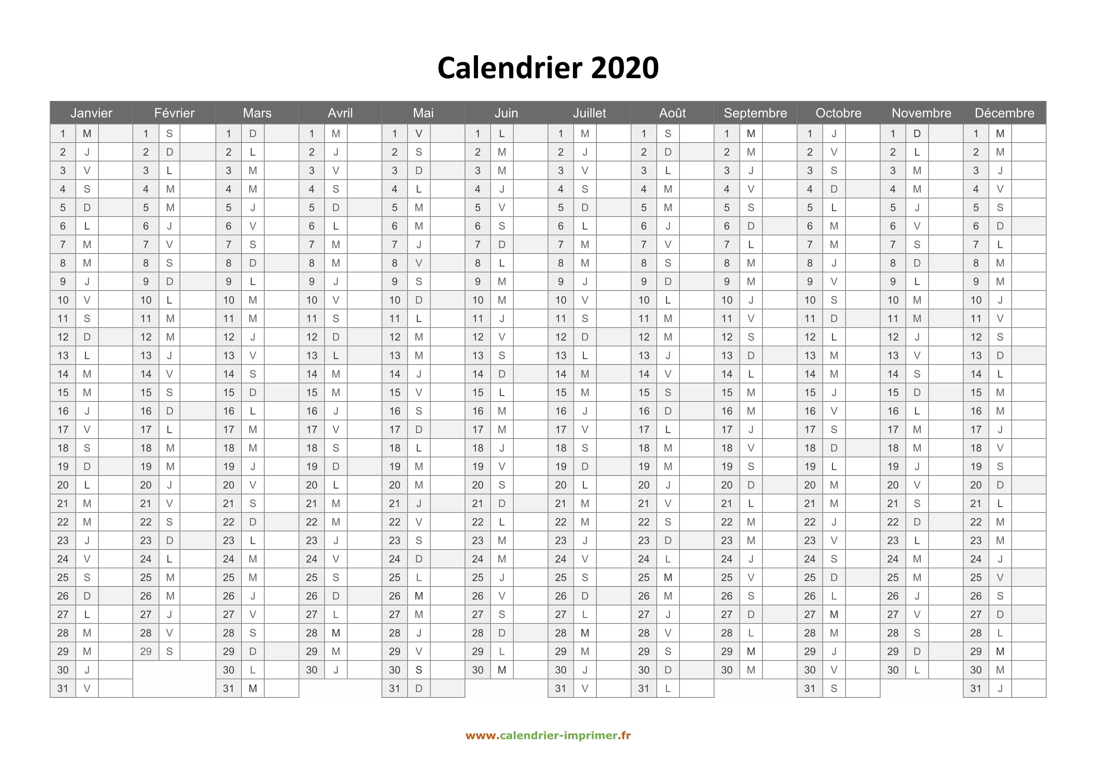 Achat Calendrier 2020.Calendrier 2020 A Imprimer Gratuit