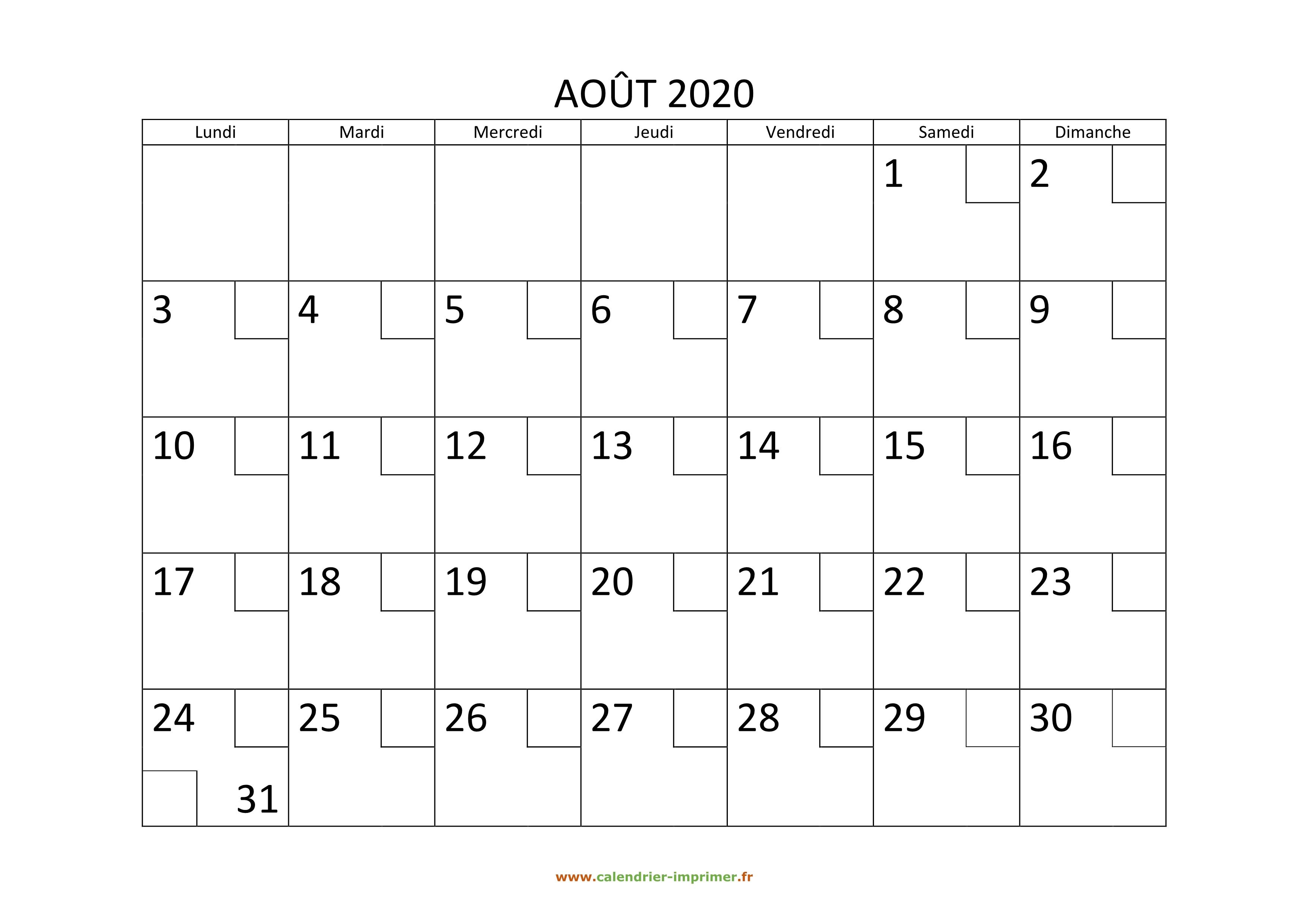 calendrier ao u00fbt 2020  u00e0 imprimer