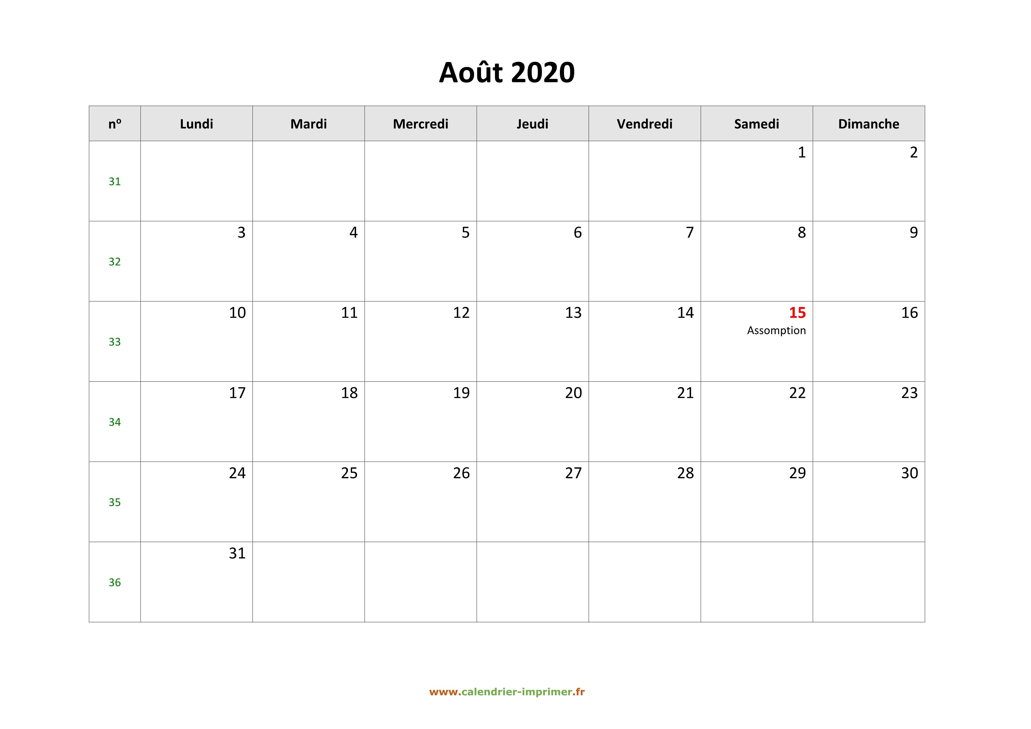 Calendrier Du Mois D Aout 2020.Calendrier Aout 2020 A Imprimer