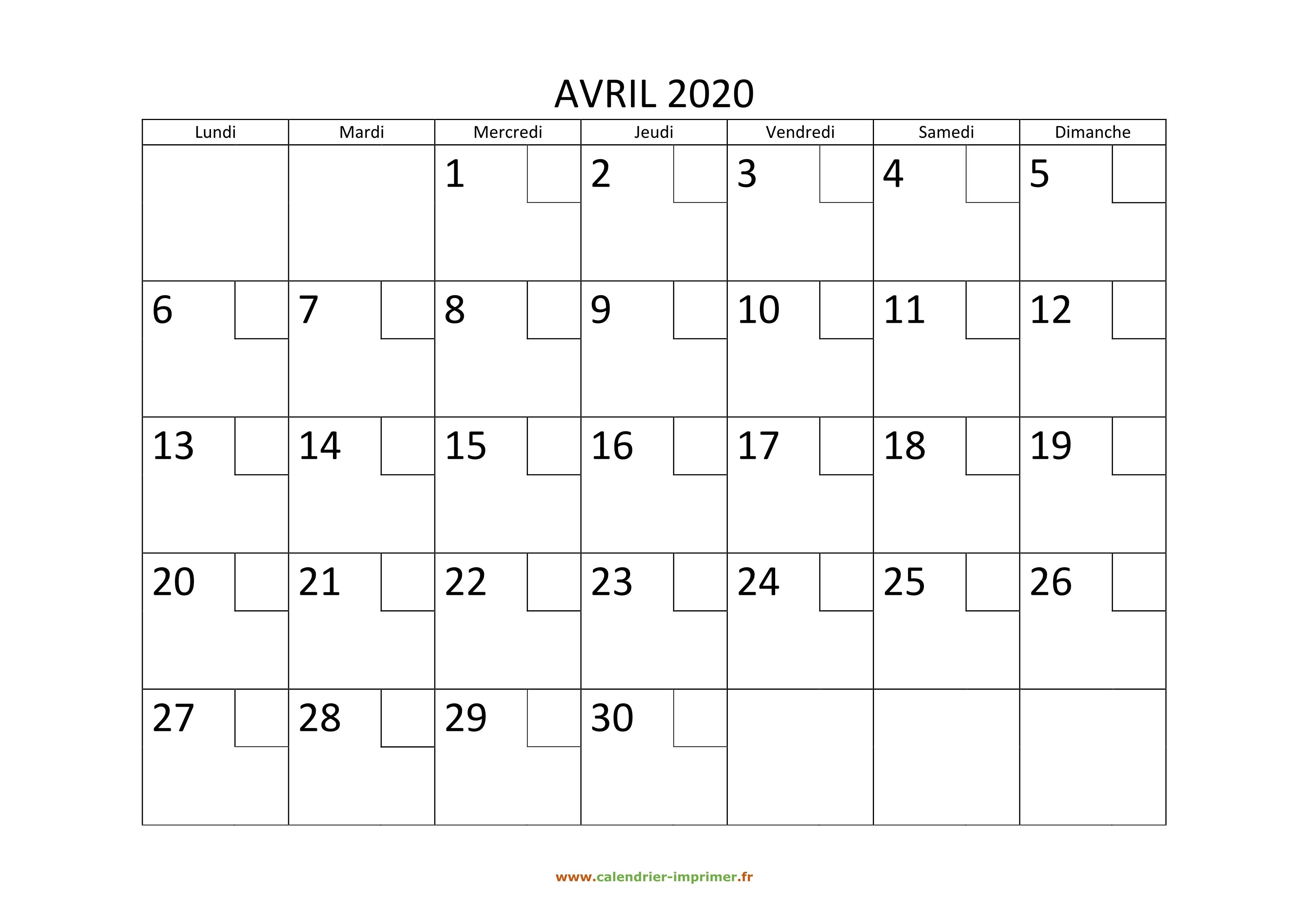 Calendrier Avril 2020 à Imprimer.Calendrier Avril 2020 A Imprimer