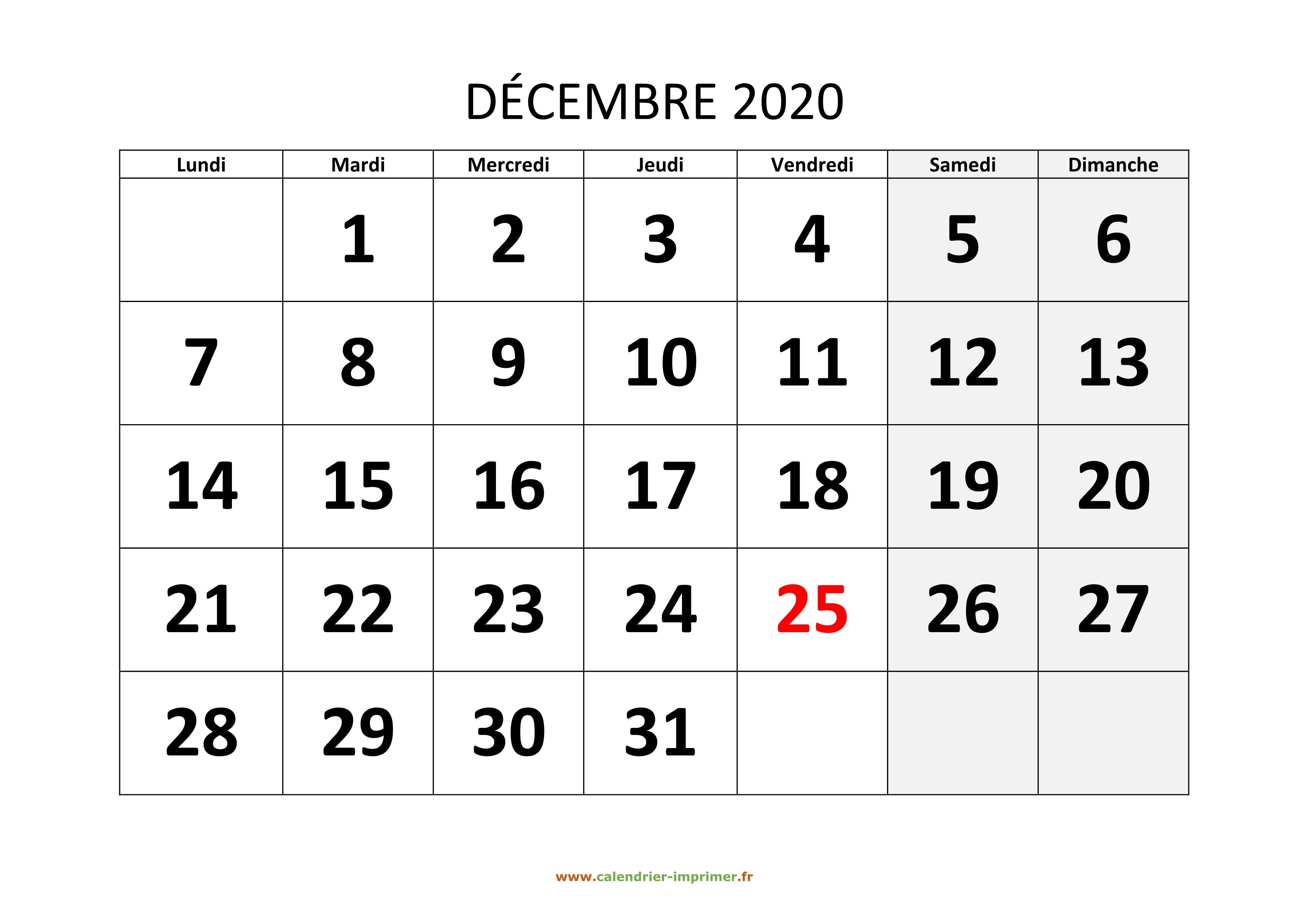 Calendrier Decembre 2020.Calendrier Decembre 2020 A Imprimer