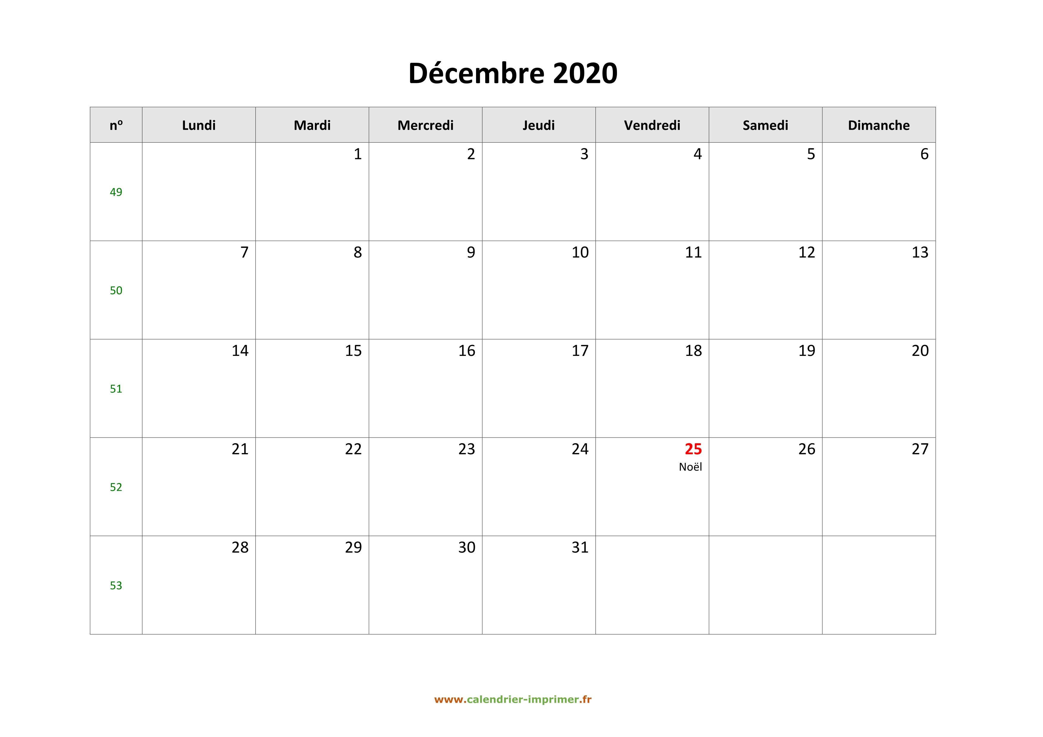 Calendrier De Decembre 2020.Calendrier Decembre 2020 A Imprimer