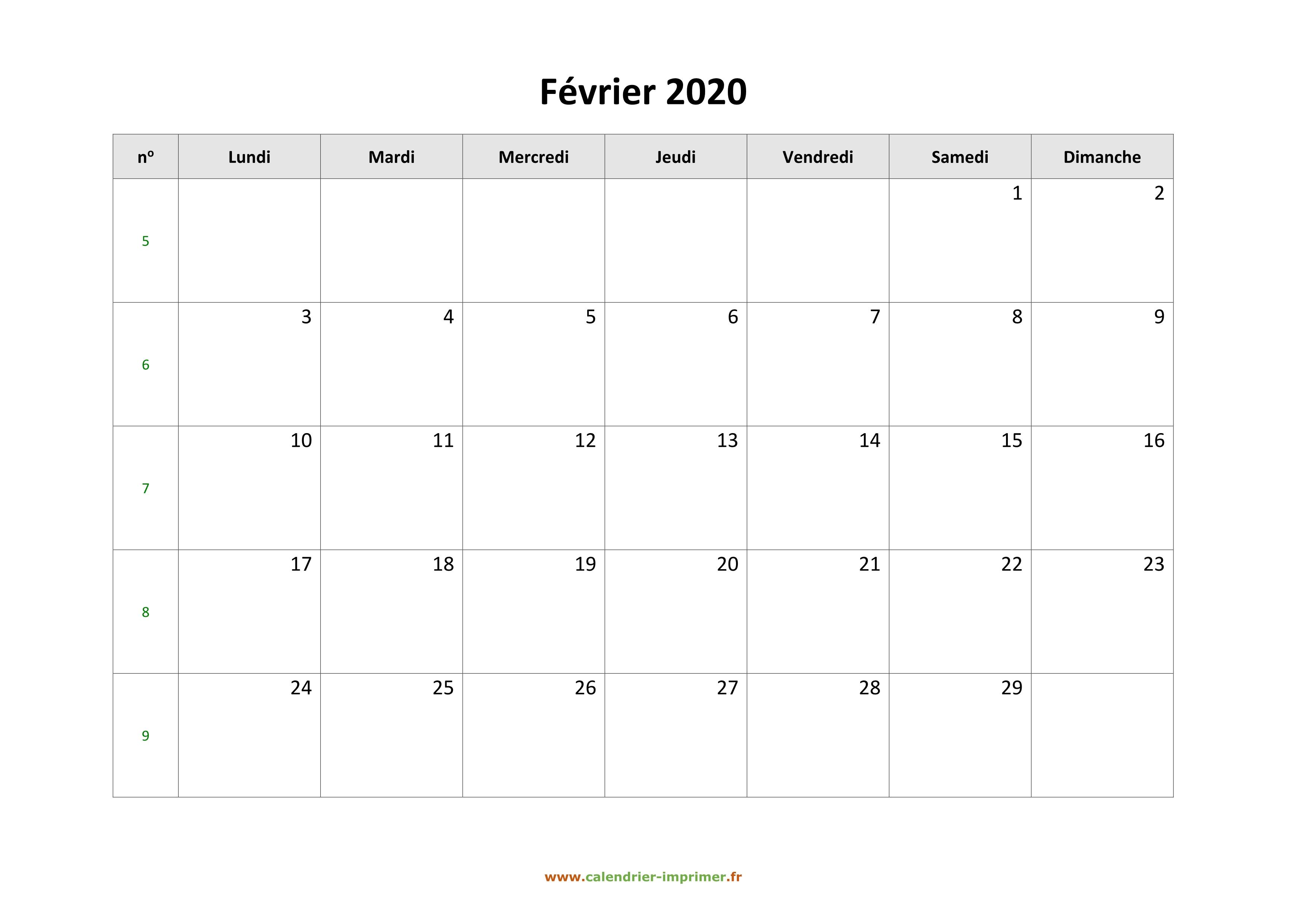 Calendrier Février 2020.Calendrier Fevrier 2020 A Imprimer