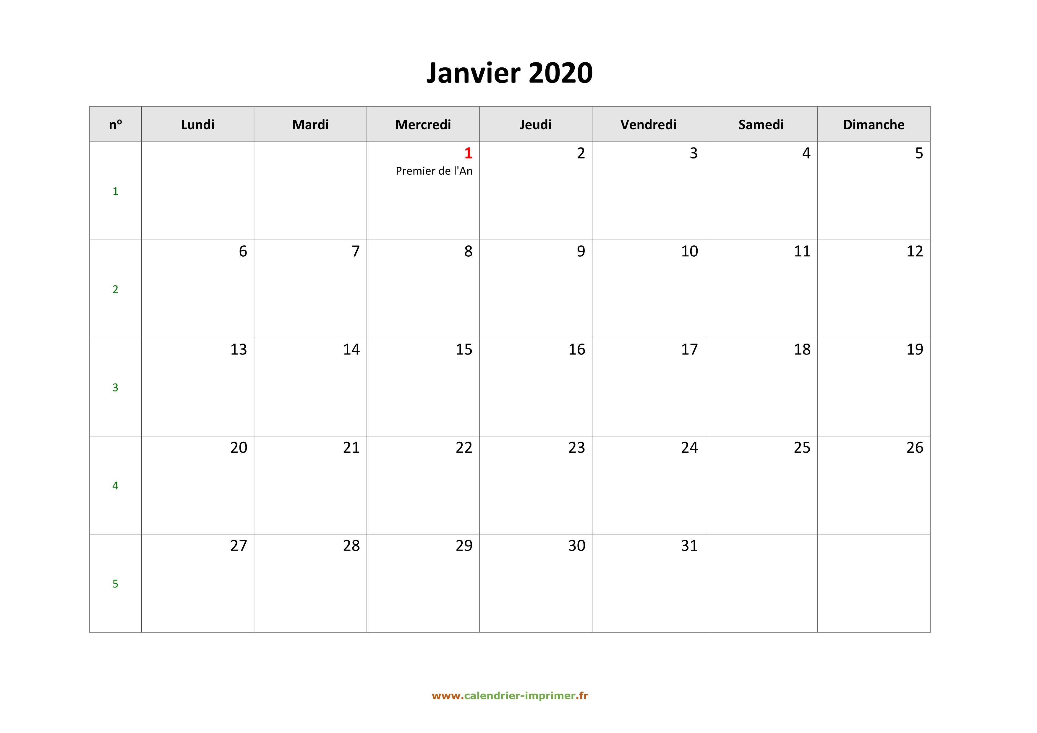 Calendrier Mois Janvier 2020.Calendrier Janvier 2020 A Imprimer