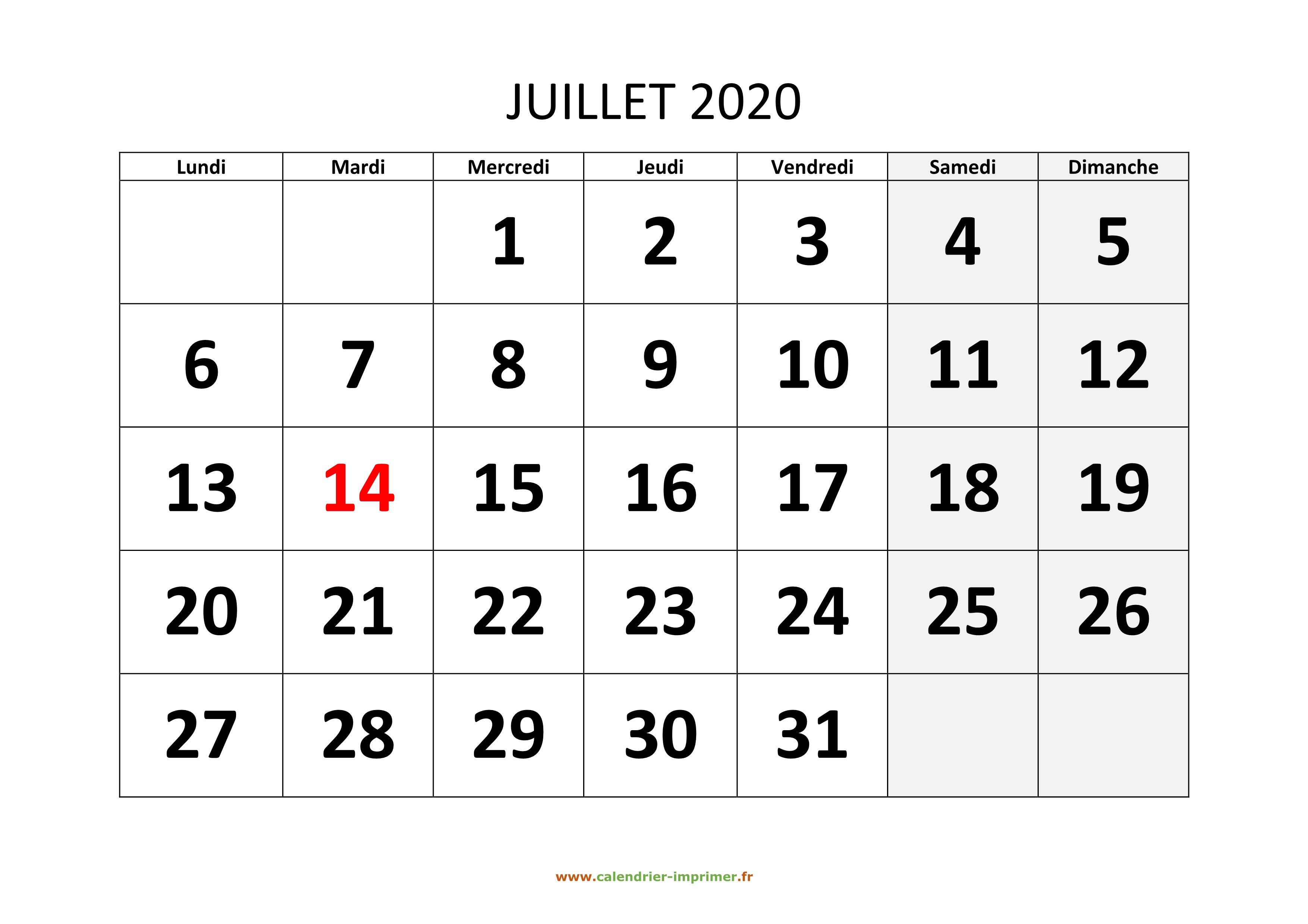 Calendrier Juillet 2020 A Imprimer Gratuit.Calendrier Juillet 2020 A Imprimer