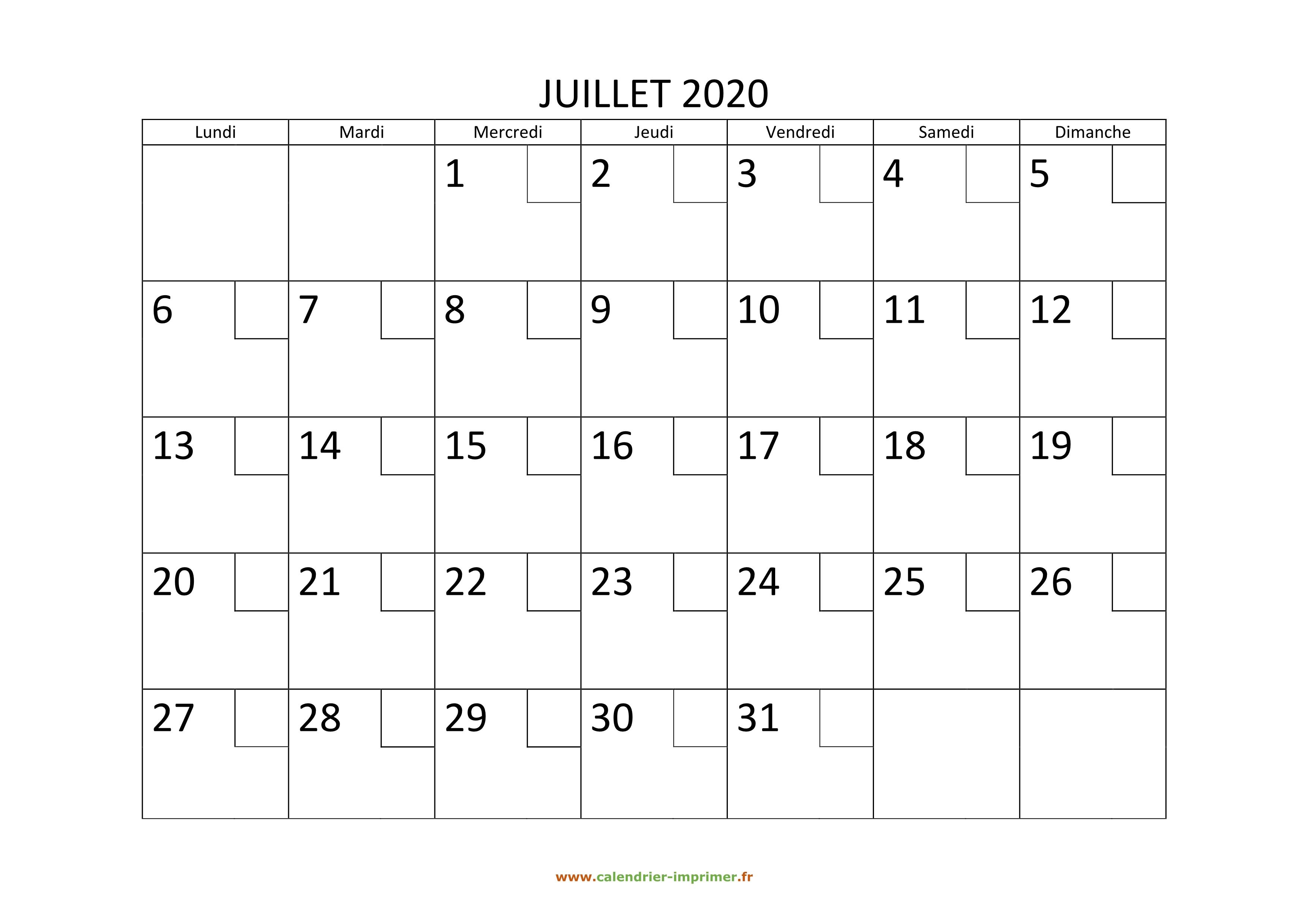 Calendrier Juillet2020.Calendrier Juillet 2020 A Imprimer