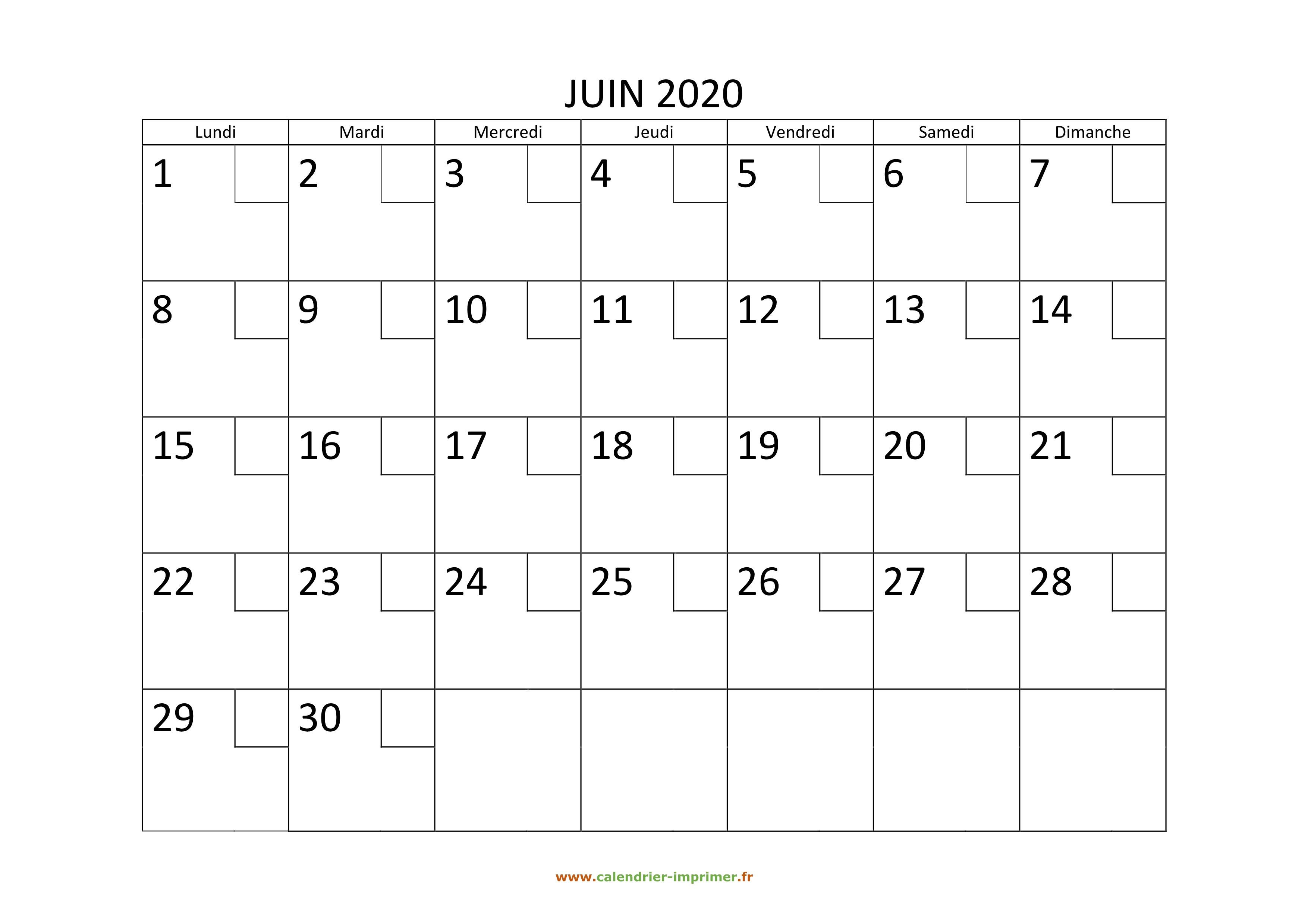 Calendrier Juin 2020 à Imprimer.Calendrier Juin 2020 A Imprimer
