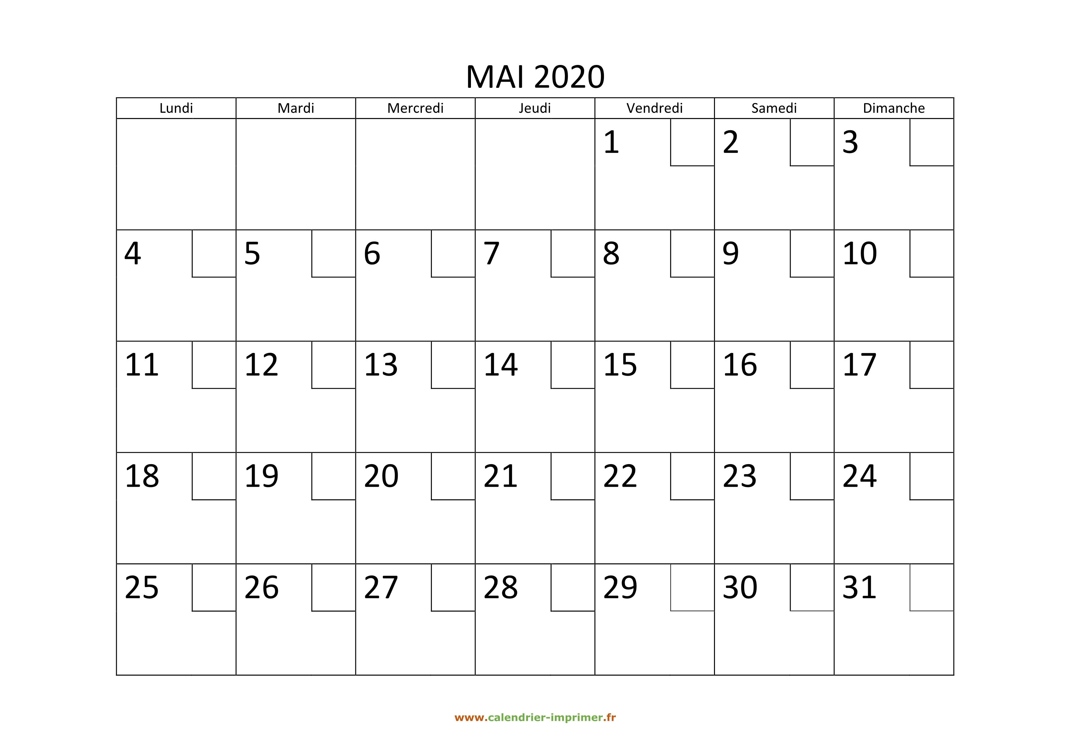 Calendrier Mai 2020 à Imprimer.Calendrier Mai 2020 A Imprimer