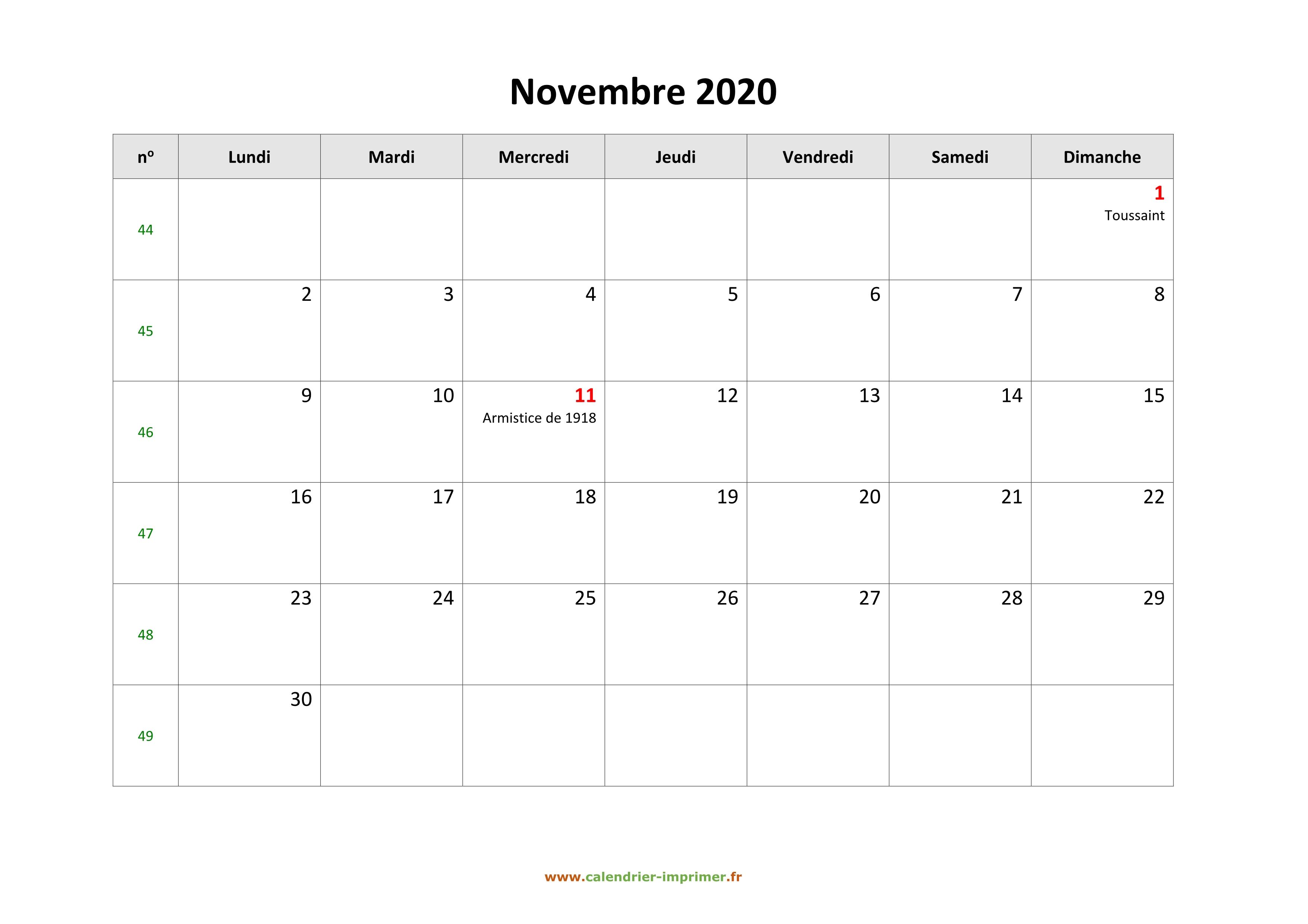 Calendrier A Imprimer Novembre 2020.Calendrier Novembre 2020 A Imprimer