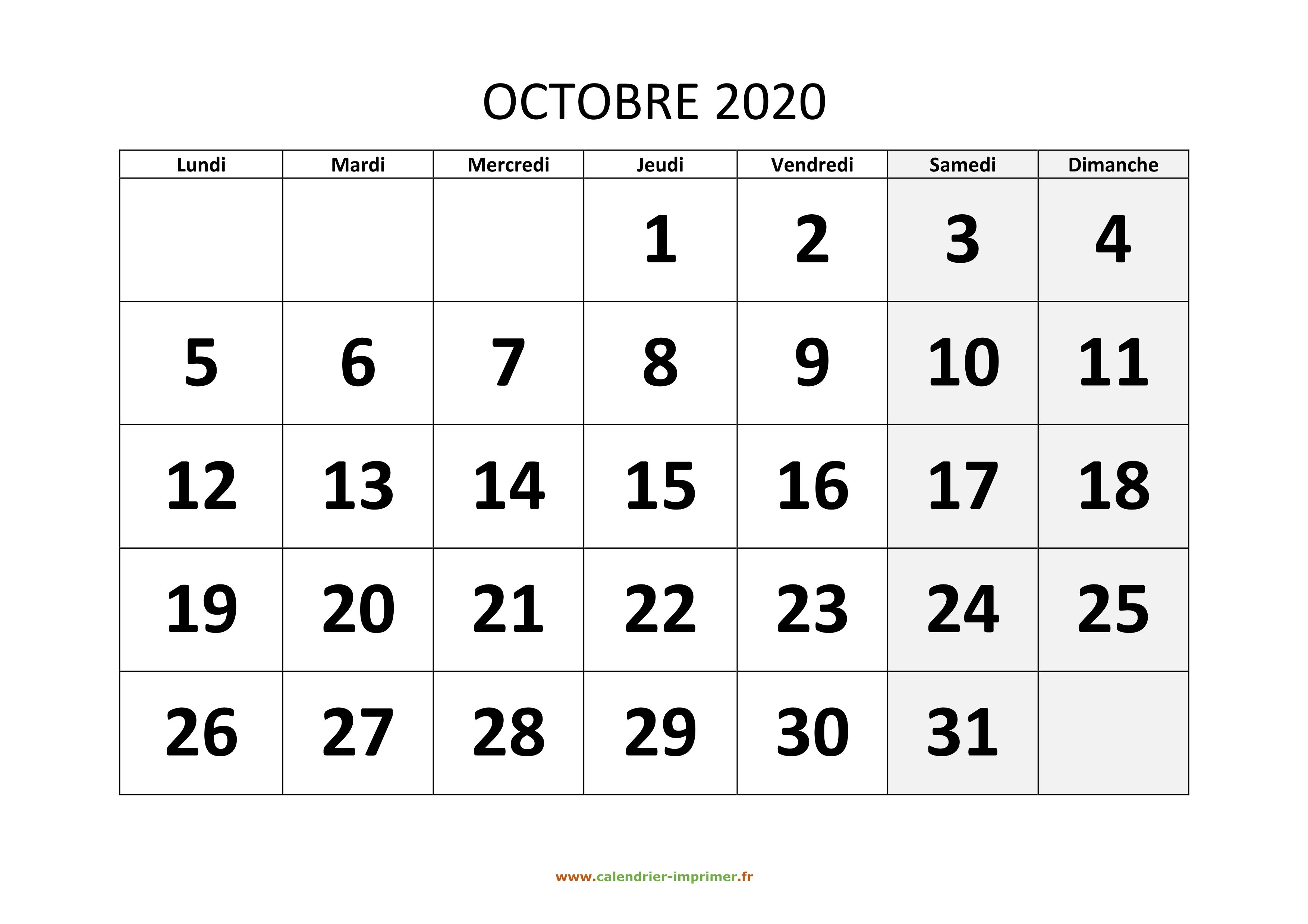 Calendrier 202016 A Imprimer.Calendrier Octobre 2020
