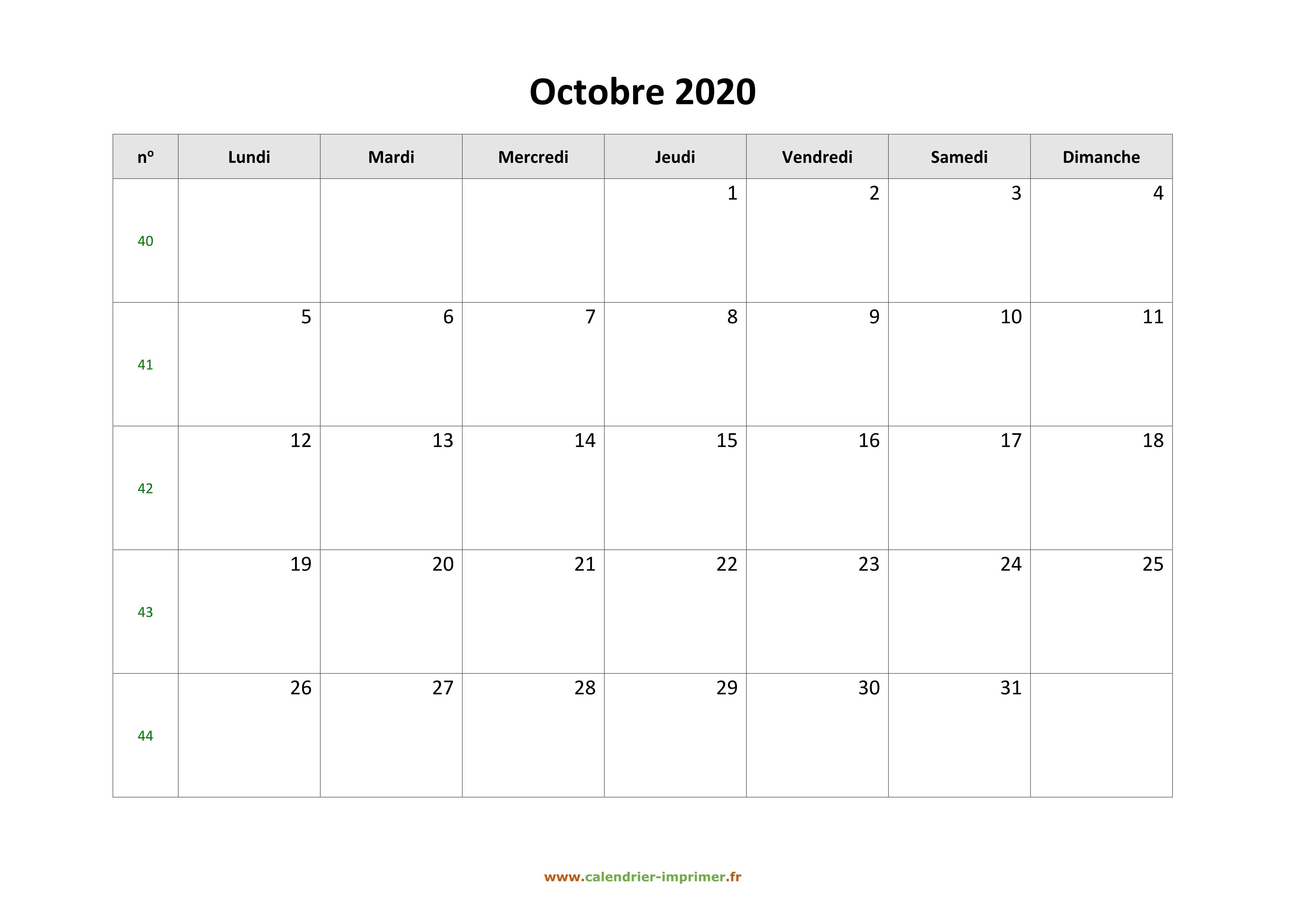 Calendrier Octobre 2020.Calendrier Octobre 2020 A Imprimer