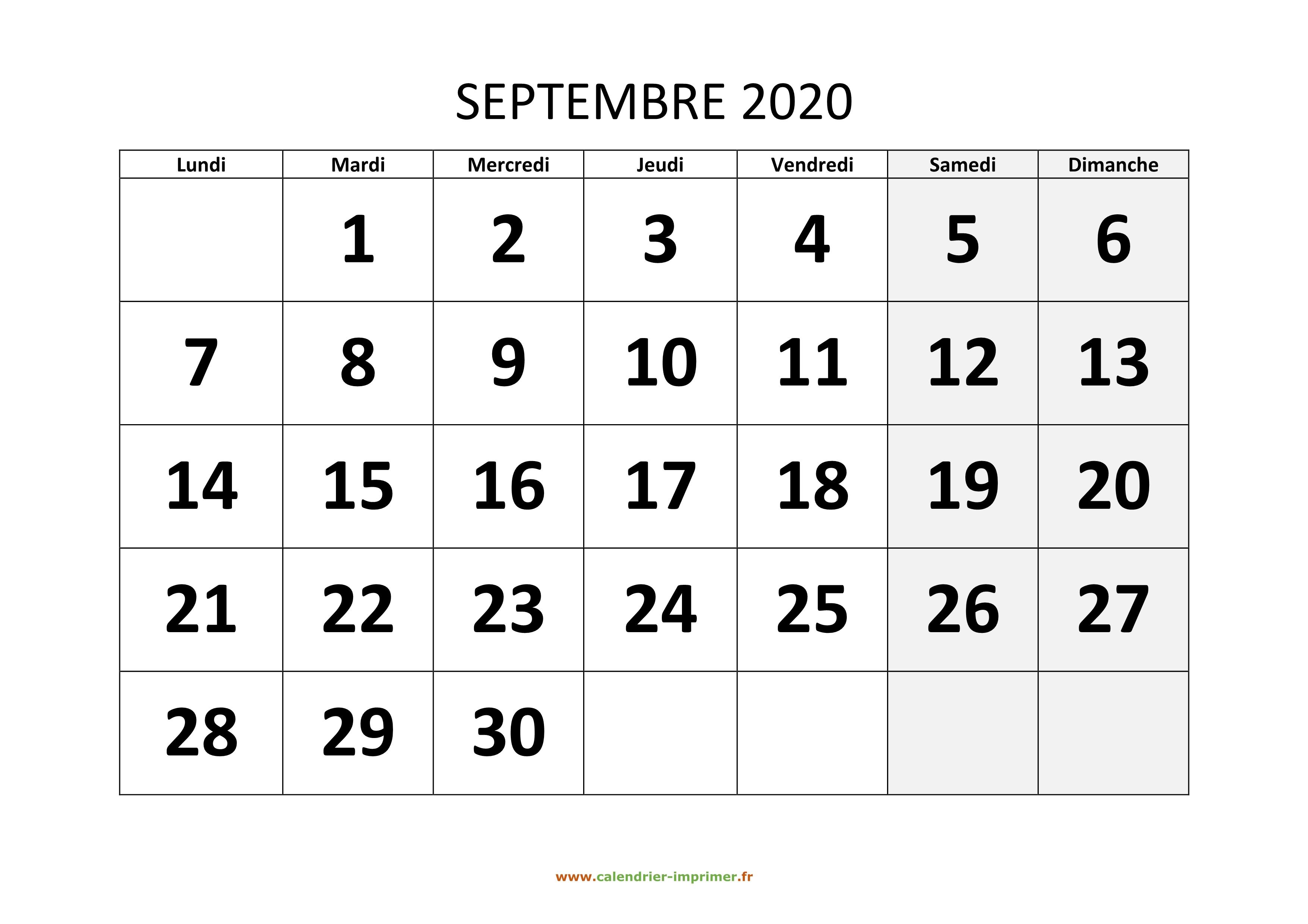 Calendrier Septembre 2020.Calendrier Septembre 2020 A Imprimer