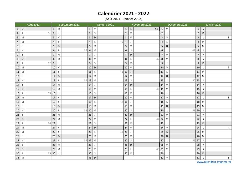 Calendrier 2022 à Remplir Calendrier 2021 2022 à imprimer