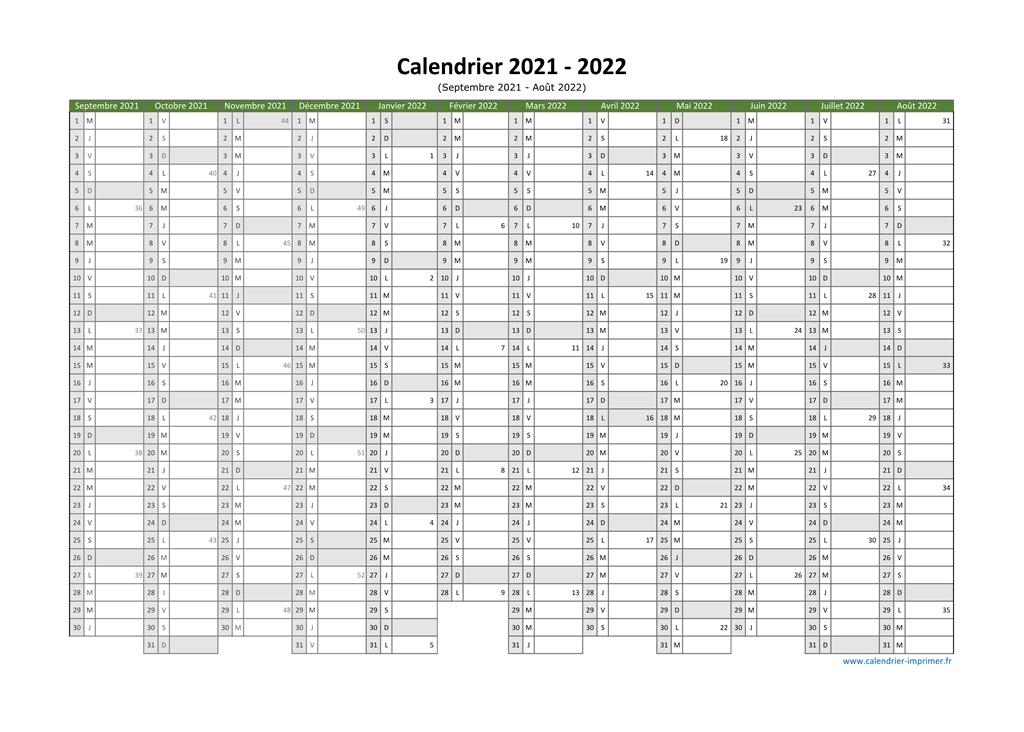 Calendrier Juillet Aout Septembre 2022 Calendrier 2021 2022 à imprimer