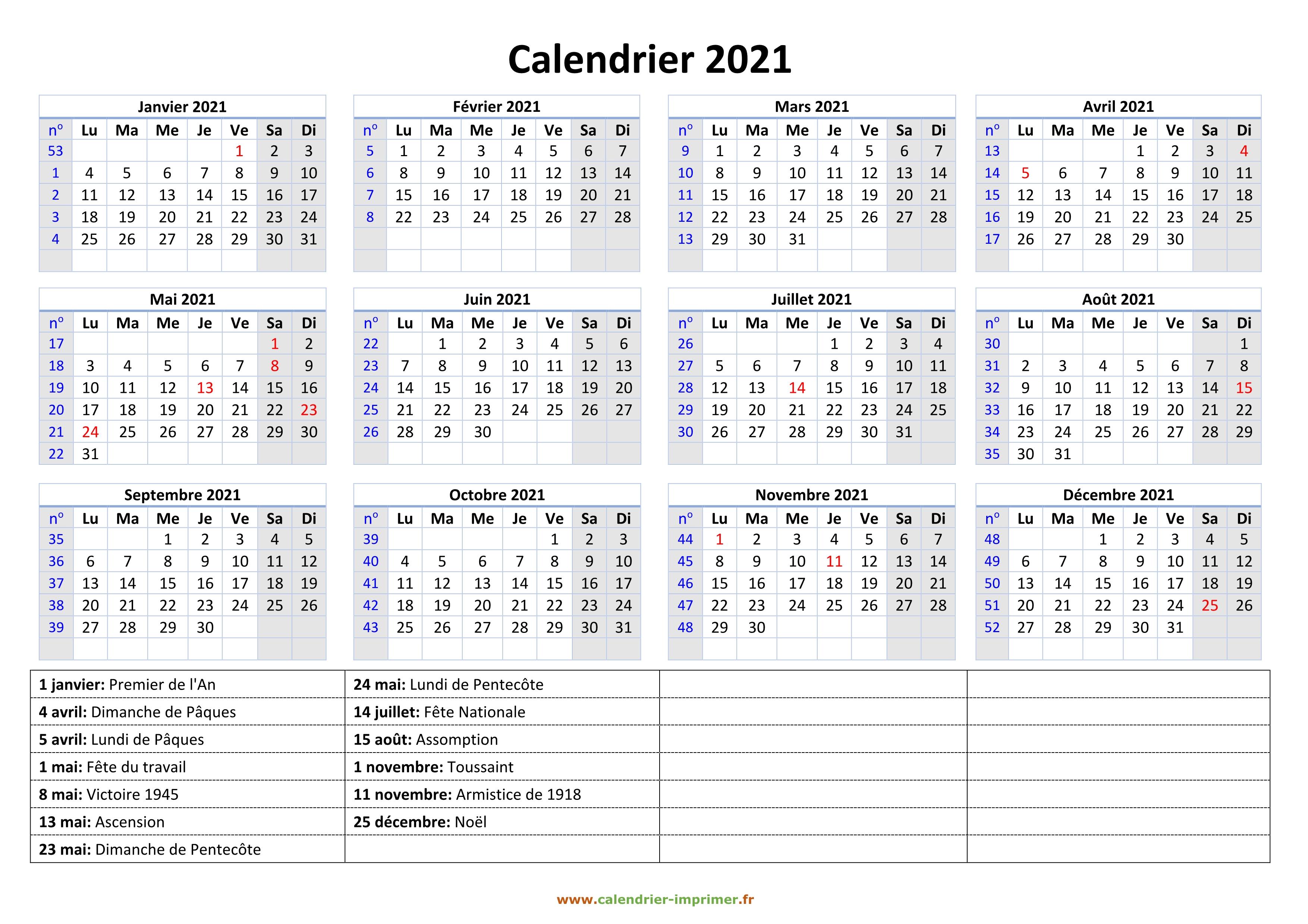 Calendrier 2021 à imprimer gratuit