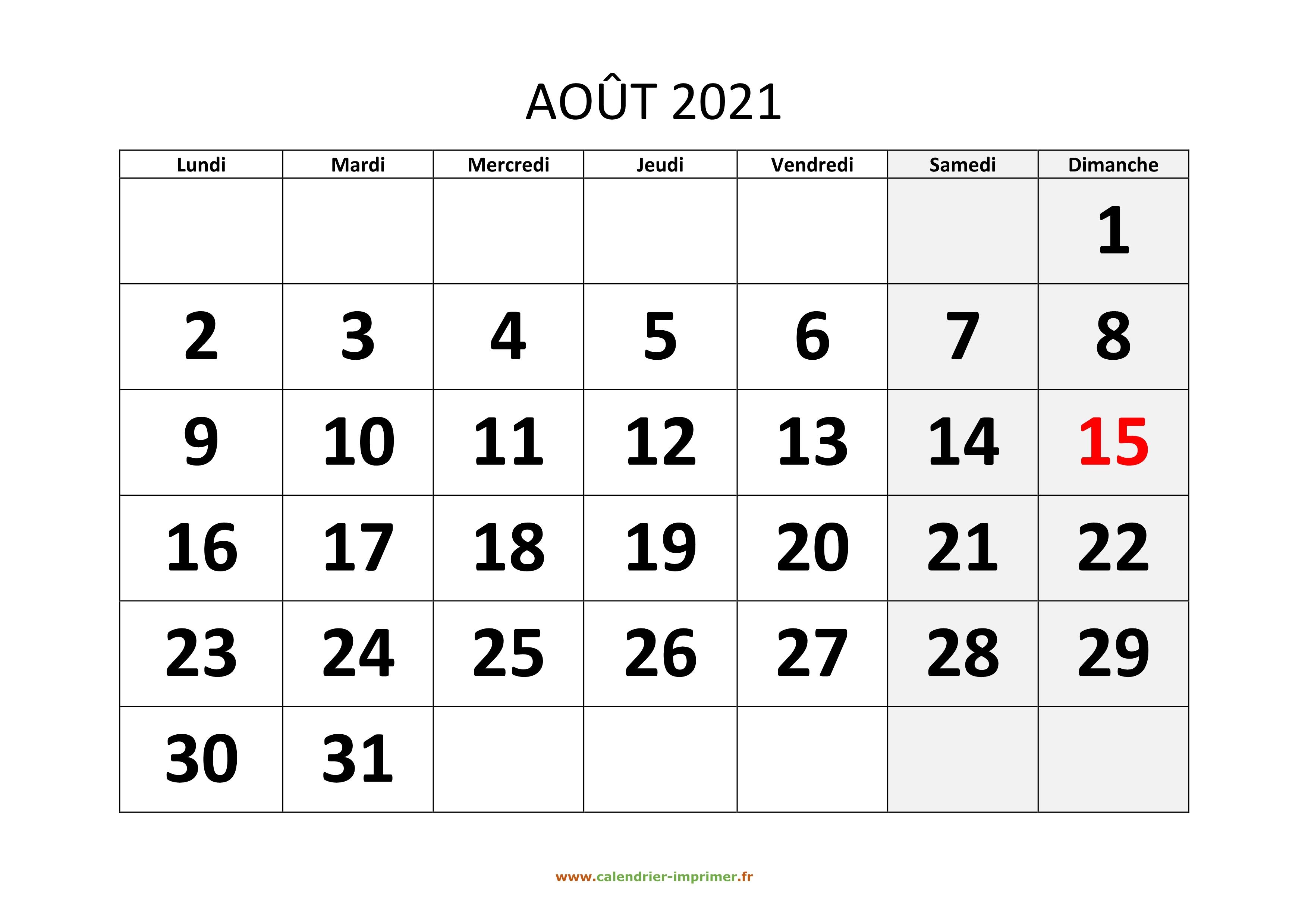 Calendrier Septembre 2021 à Aout 2021 Calendrier Août 2021 à imprimer